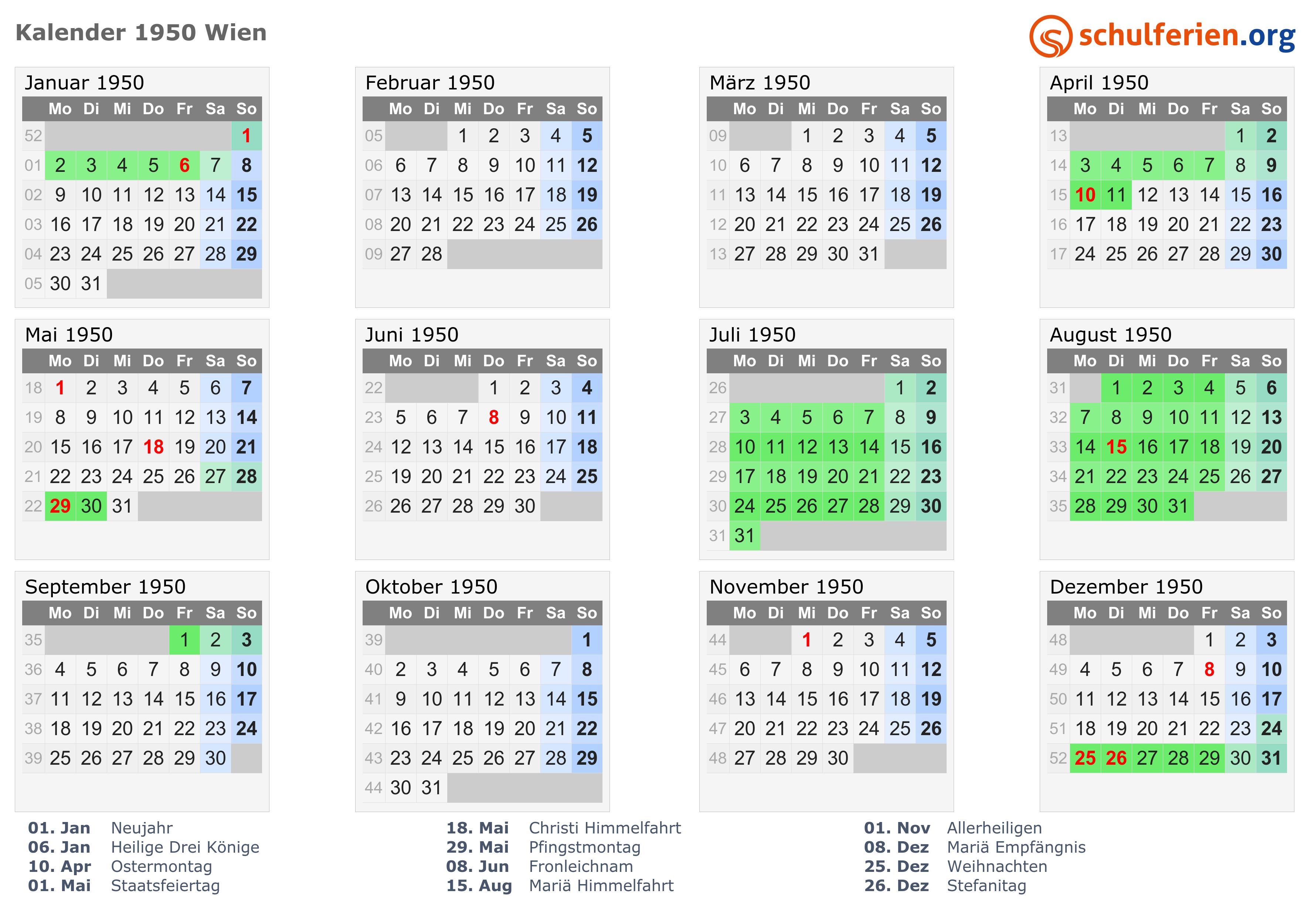 Kalender 1950 Wien