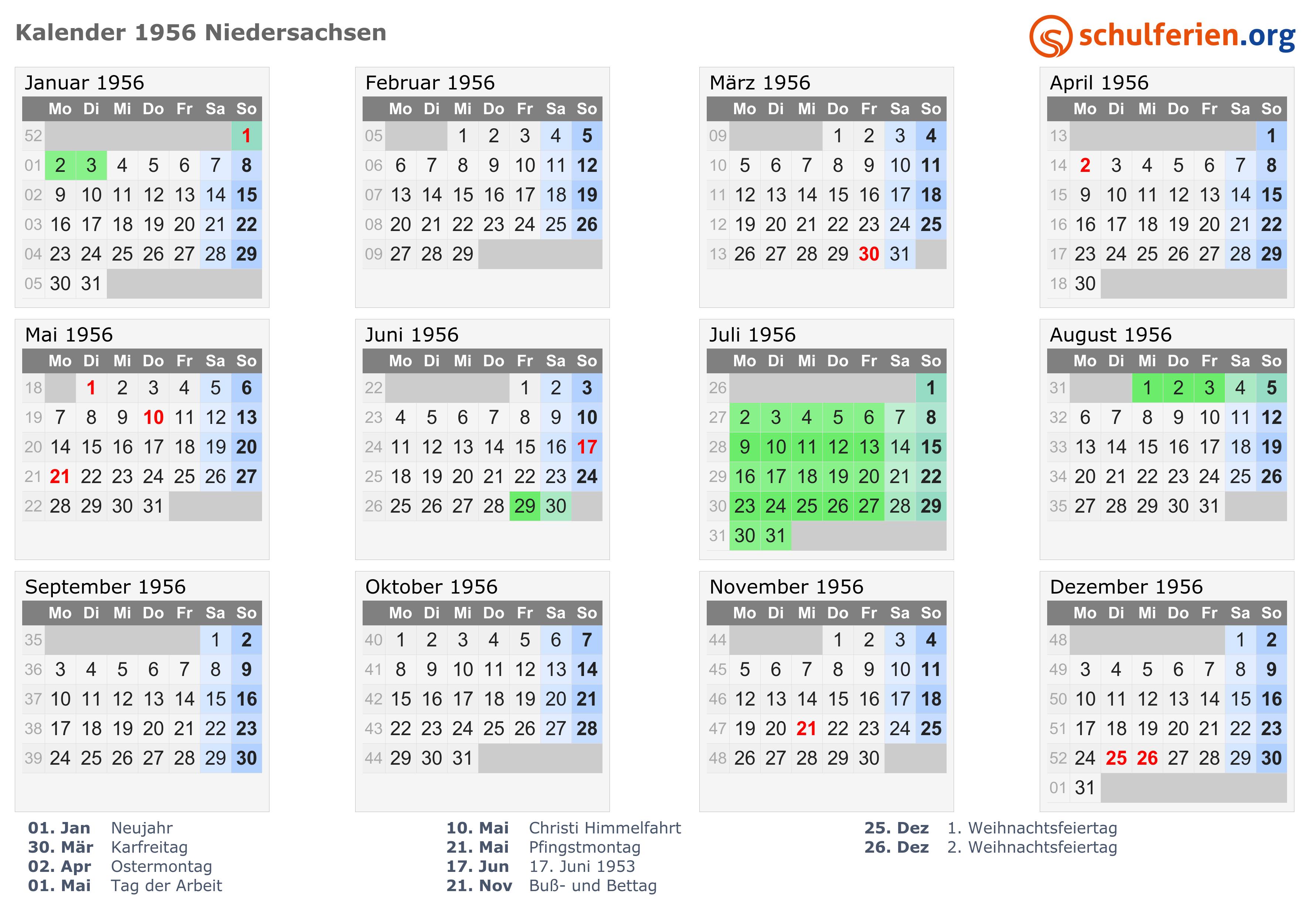 Kalender 1956 mit Ferien und Feiertagen Niedersachsen