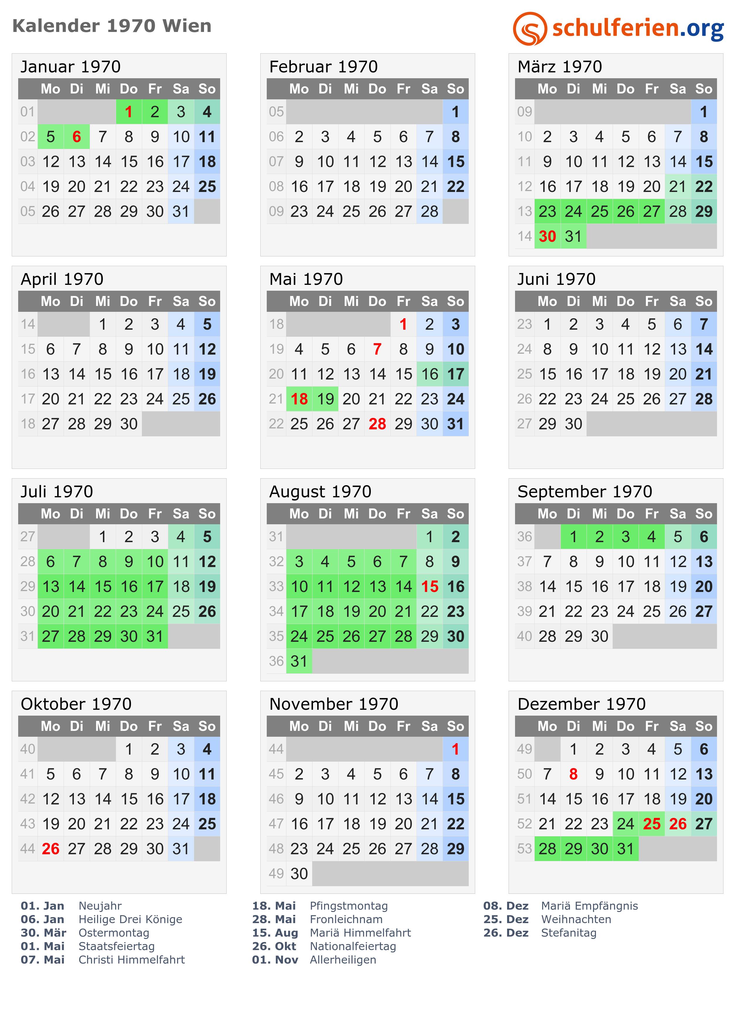 Kalender 1970 Wien