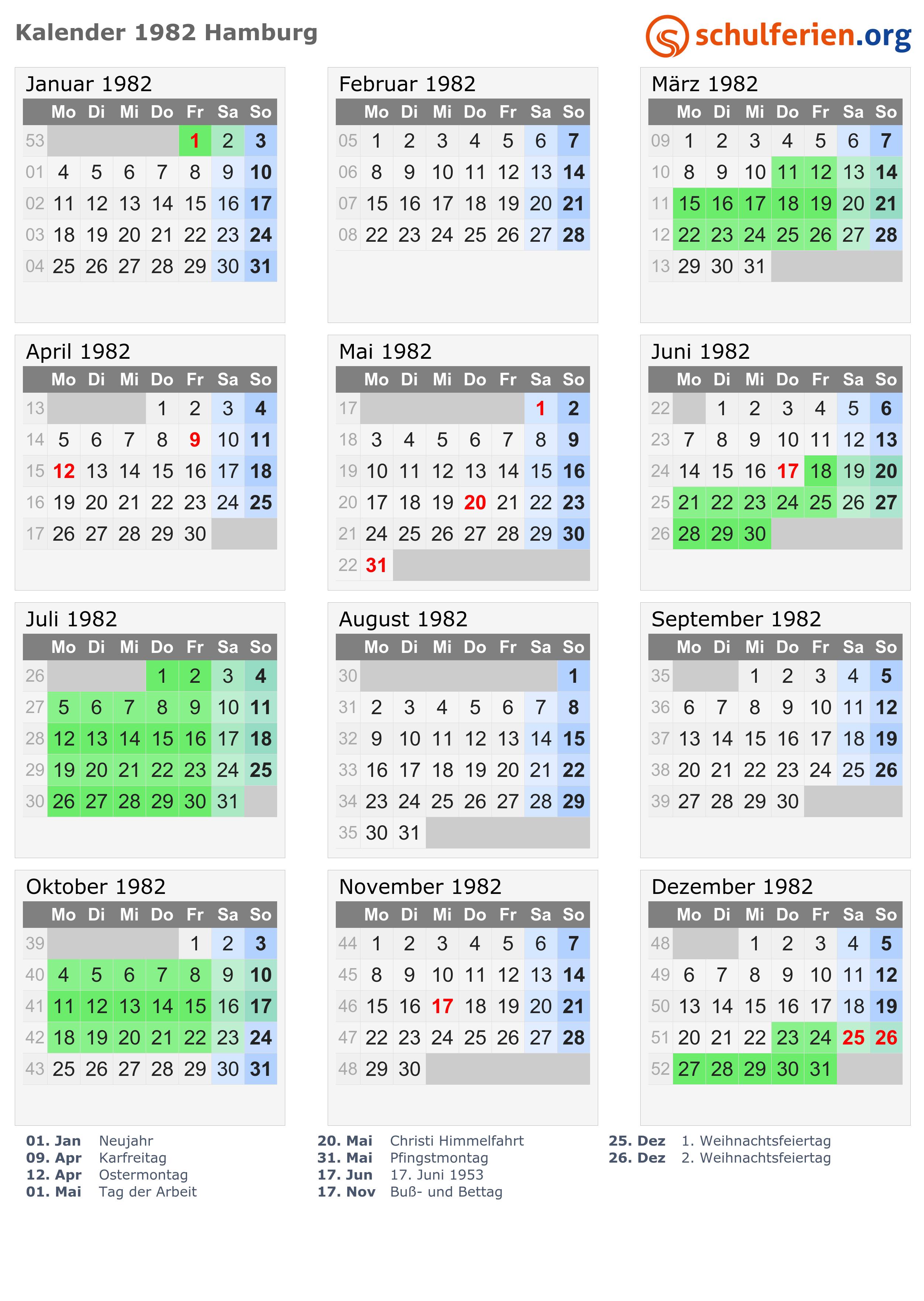 kalender 1982  kalender