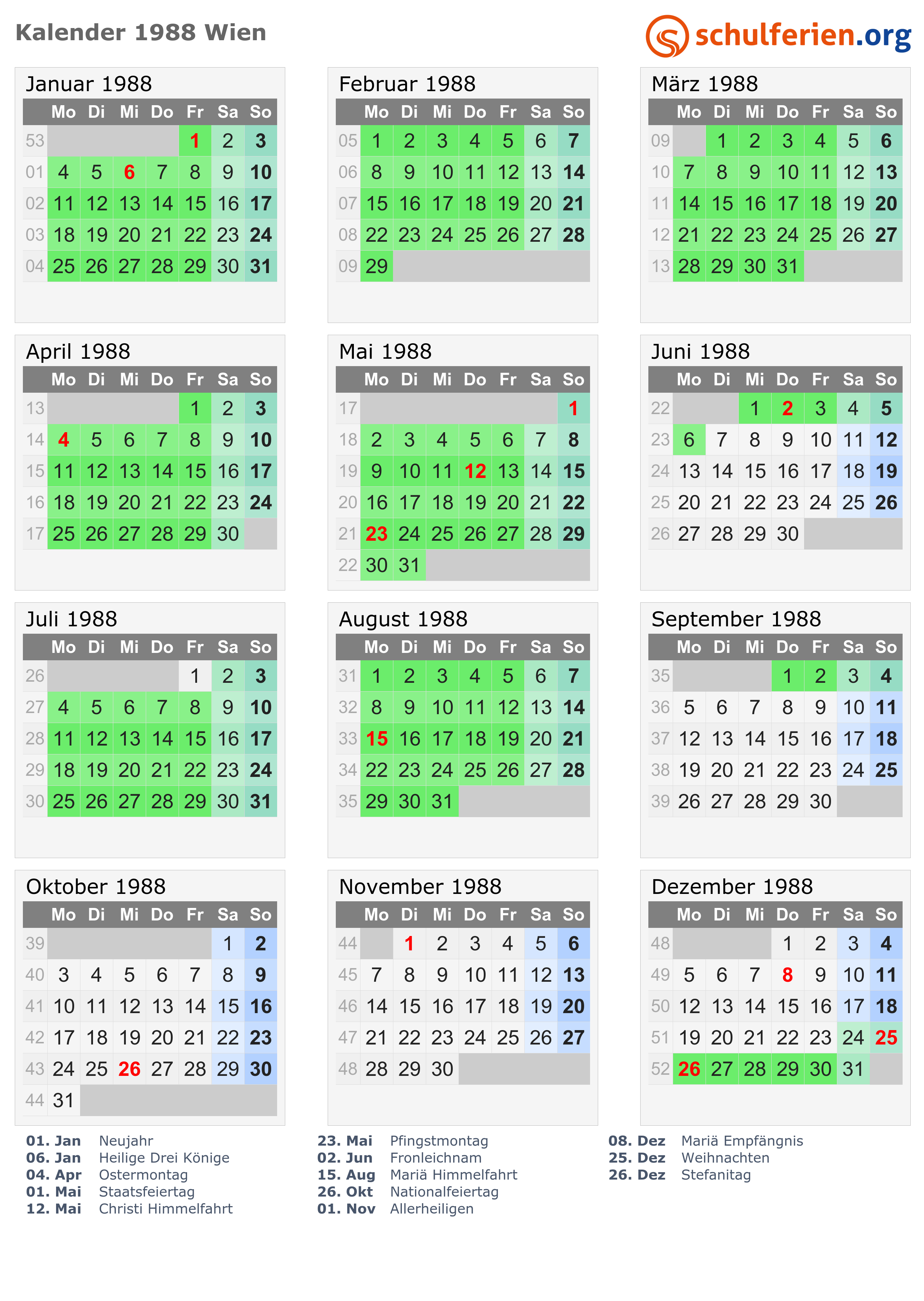 Kalender 1988 Wien