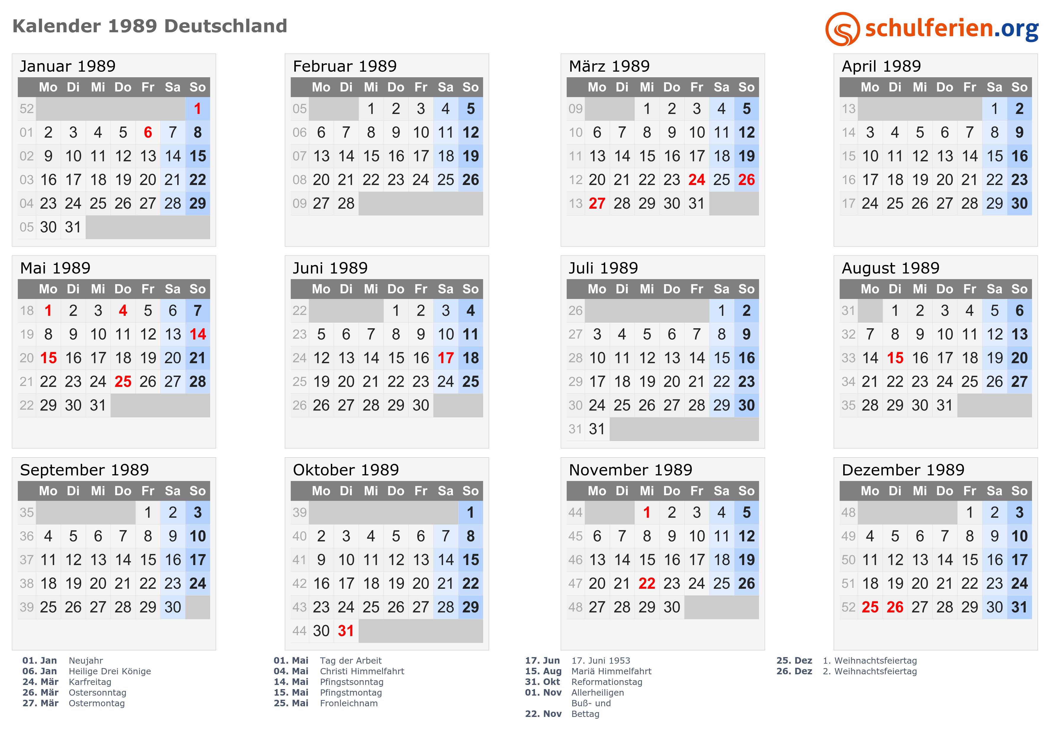 Kalender 1989 mit Feiertagen
