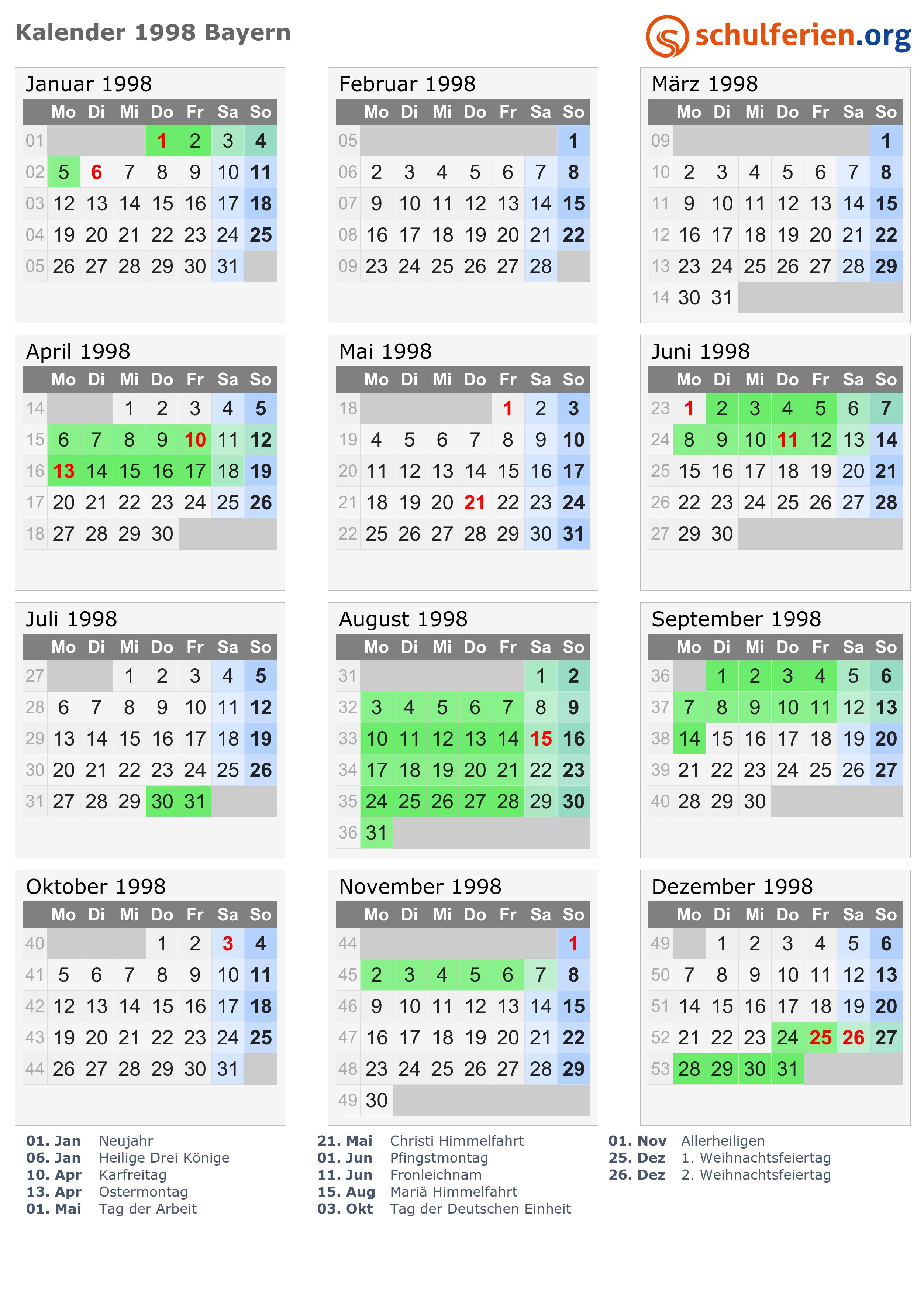 Kalender 1998 + Ferien...