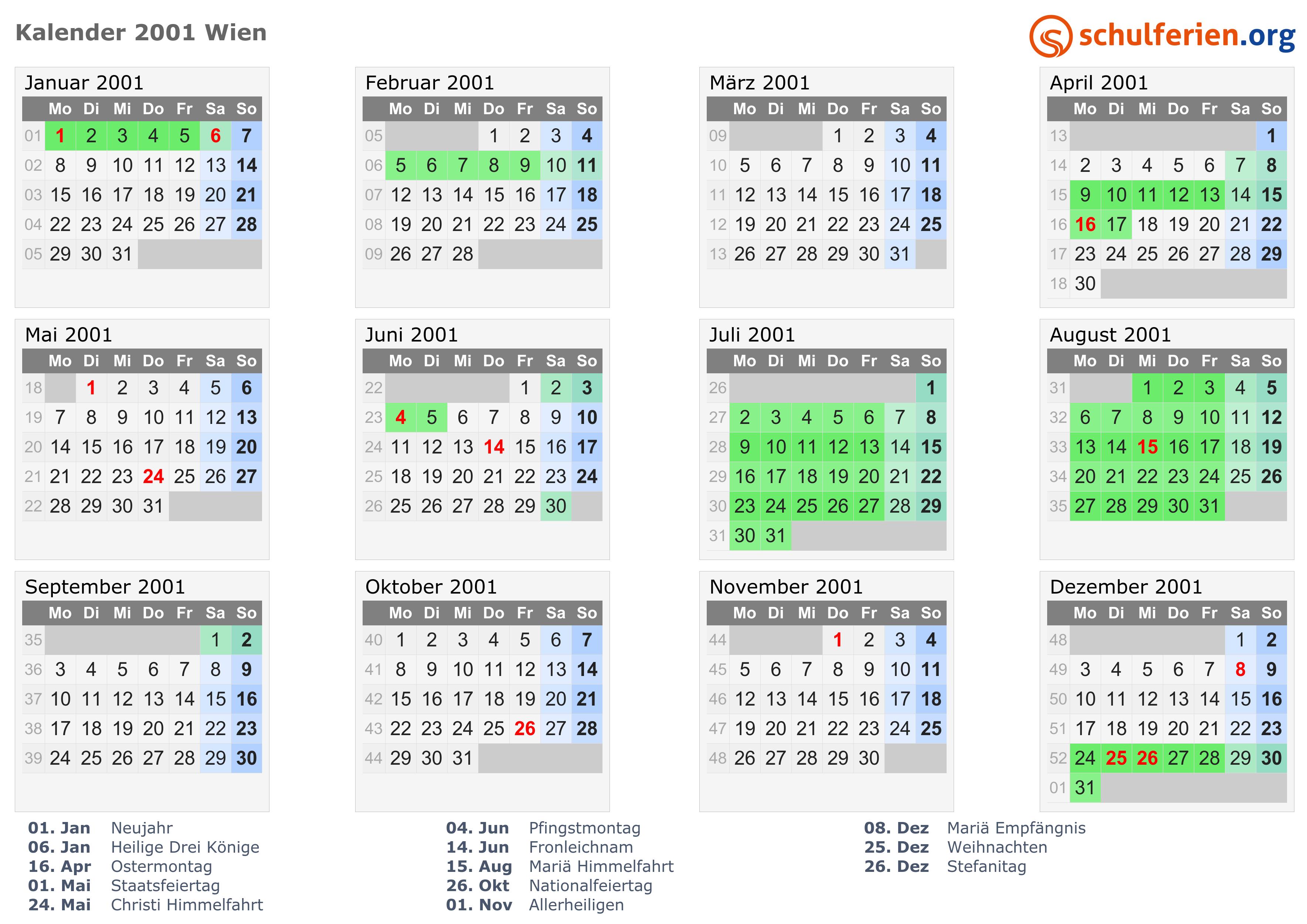 Kalender 2001 Wien