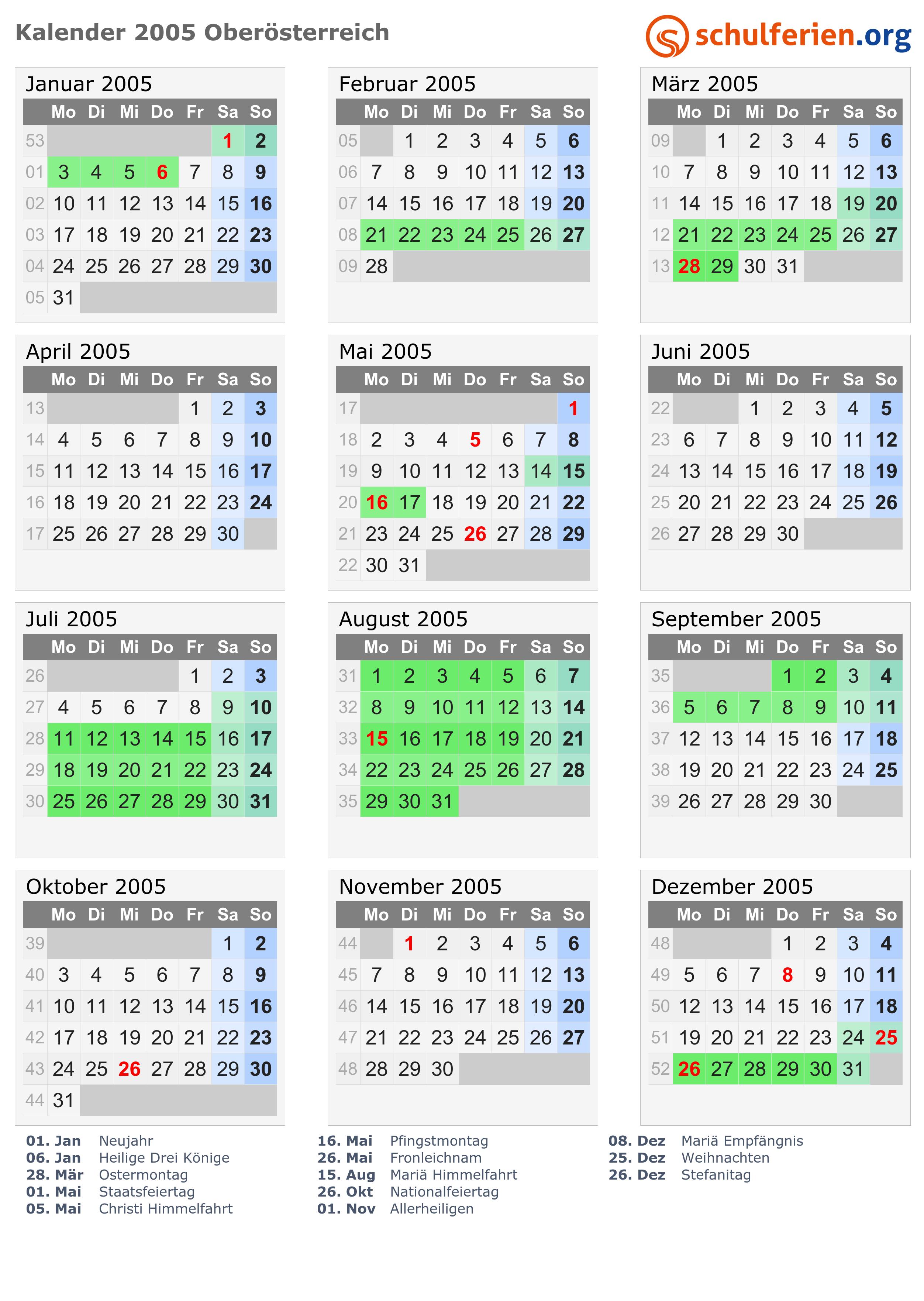 Kalender 2005 Oberösterreich
