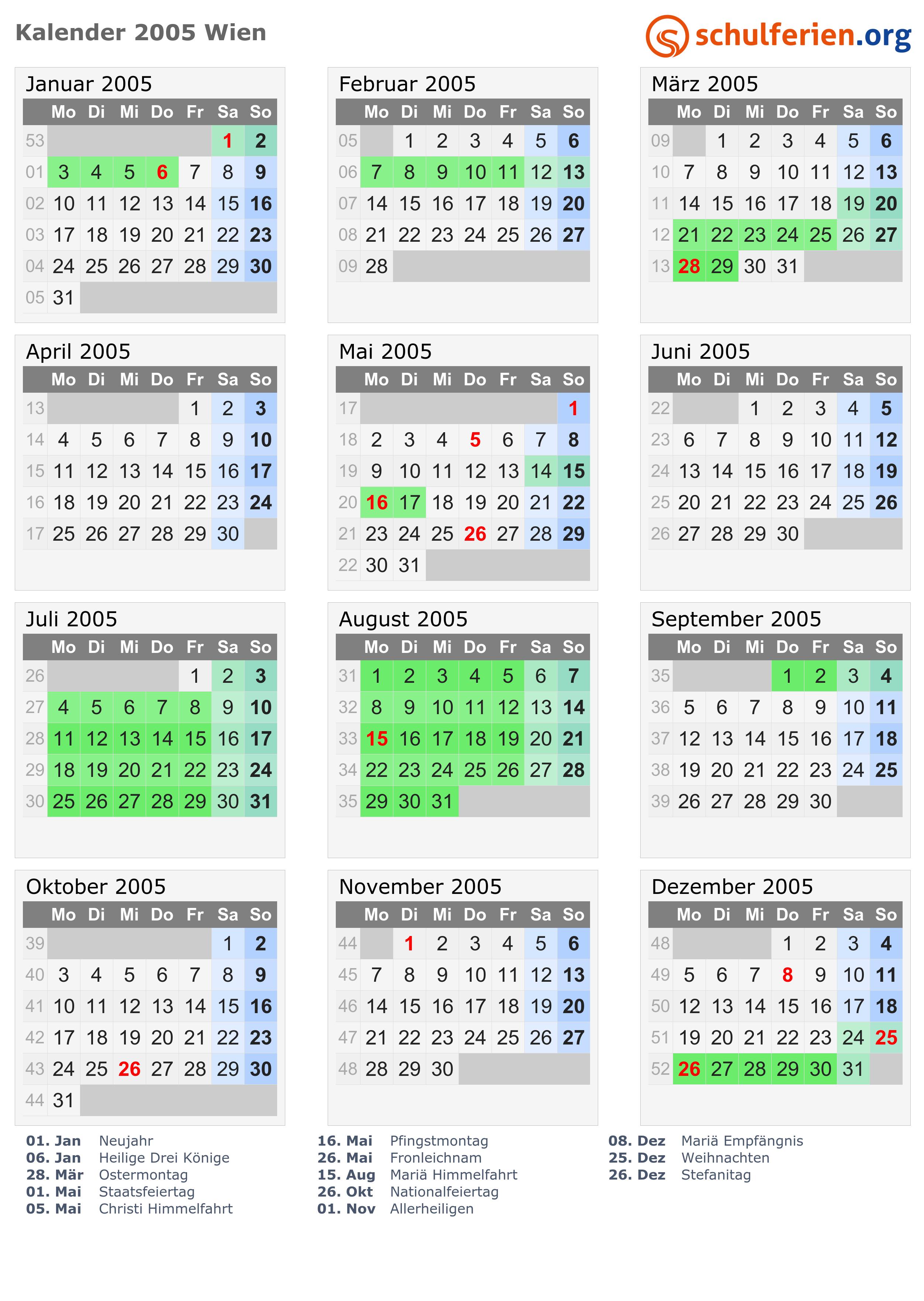 Kalender 2005 Wien