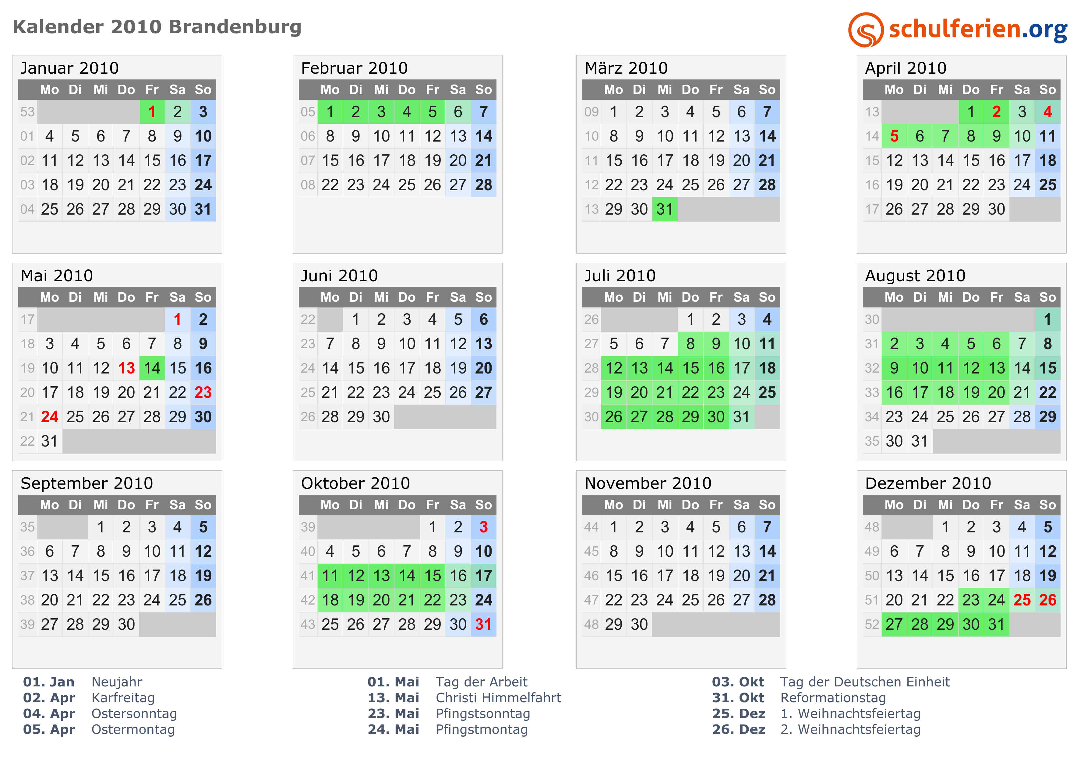31.10 Feiertag Brandenburg
