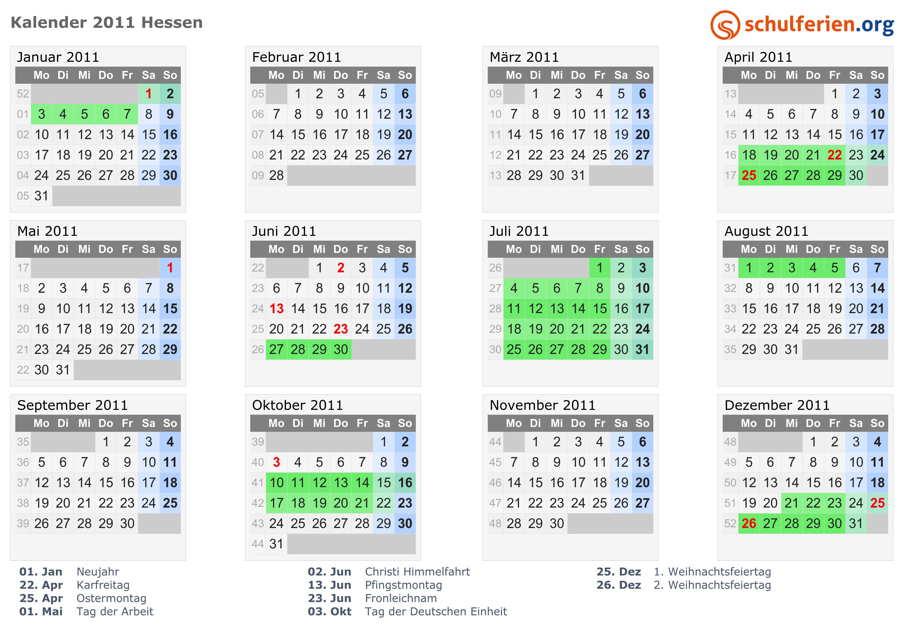 Kalender 2011 Ferien Hessen Feiertage