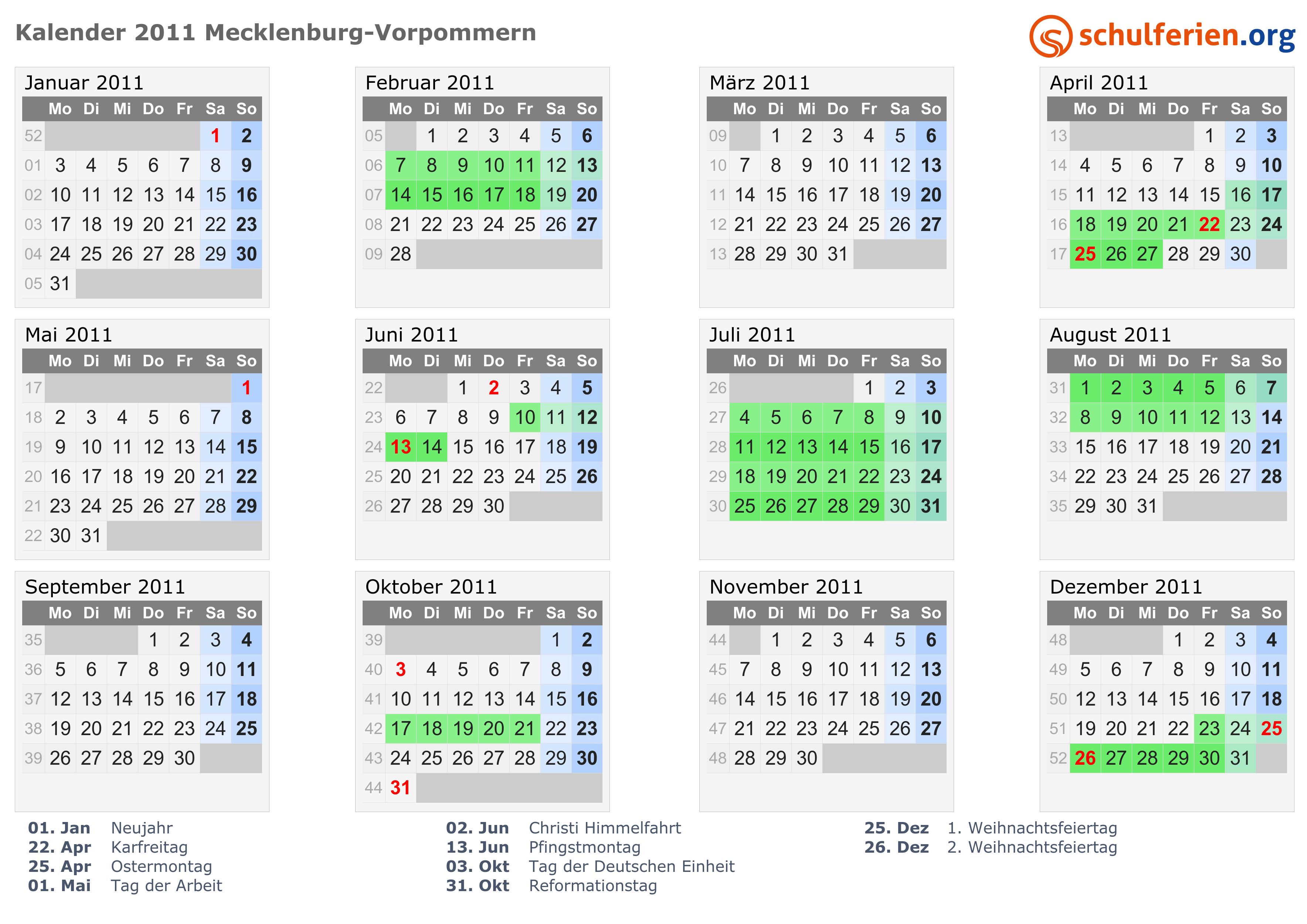 Kalender 2011 Ferien Mecklenburg Vorpommern Feiertage