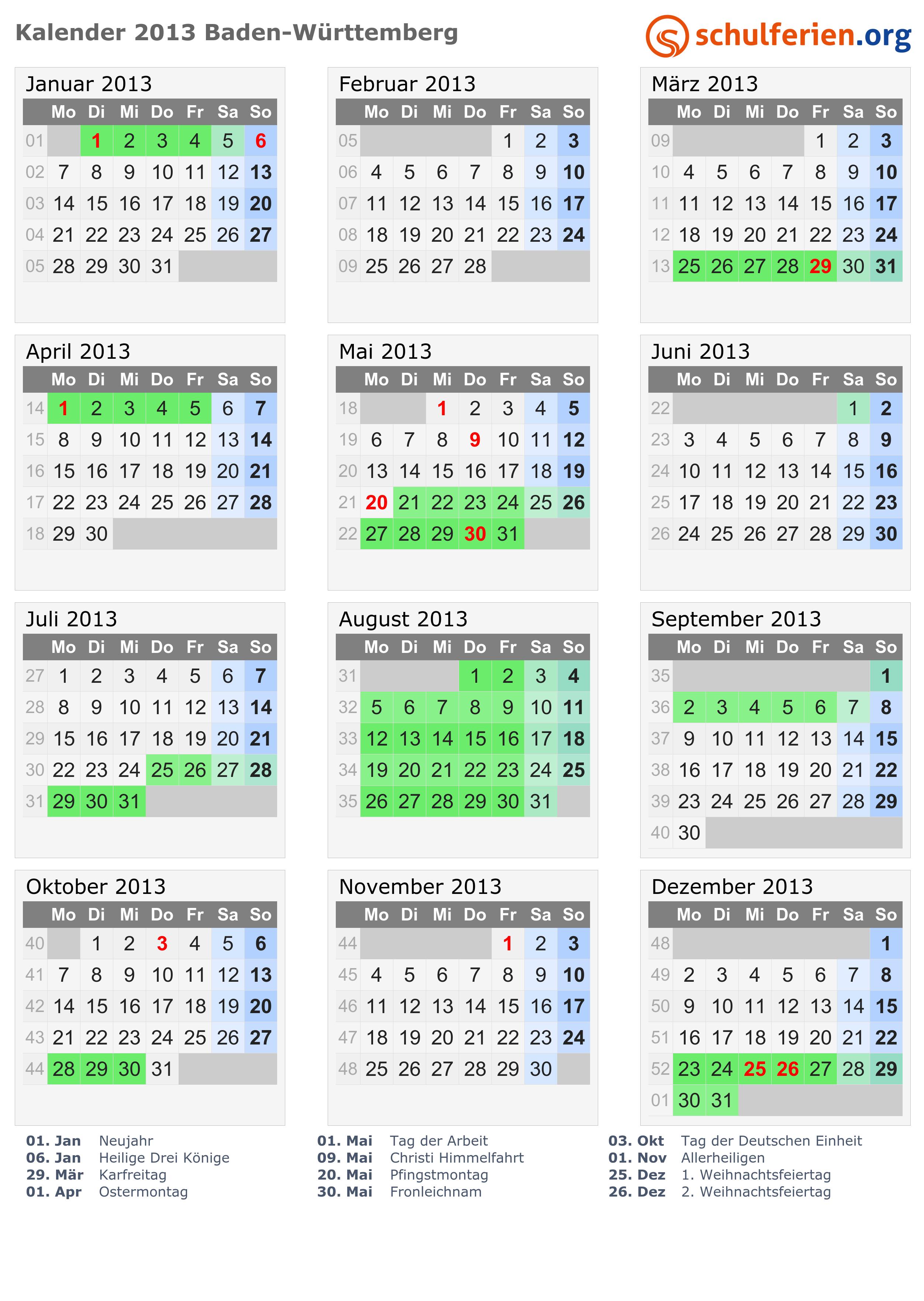 Kalender 2013 Ferien Baden Württemberg Feiertage