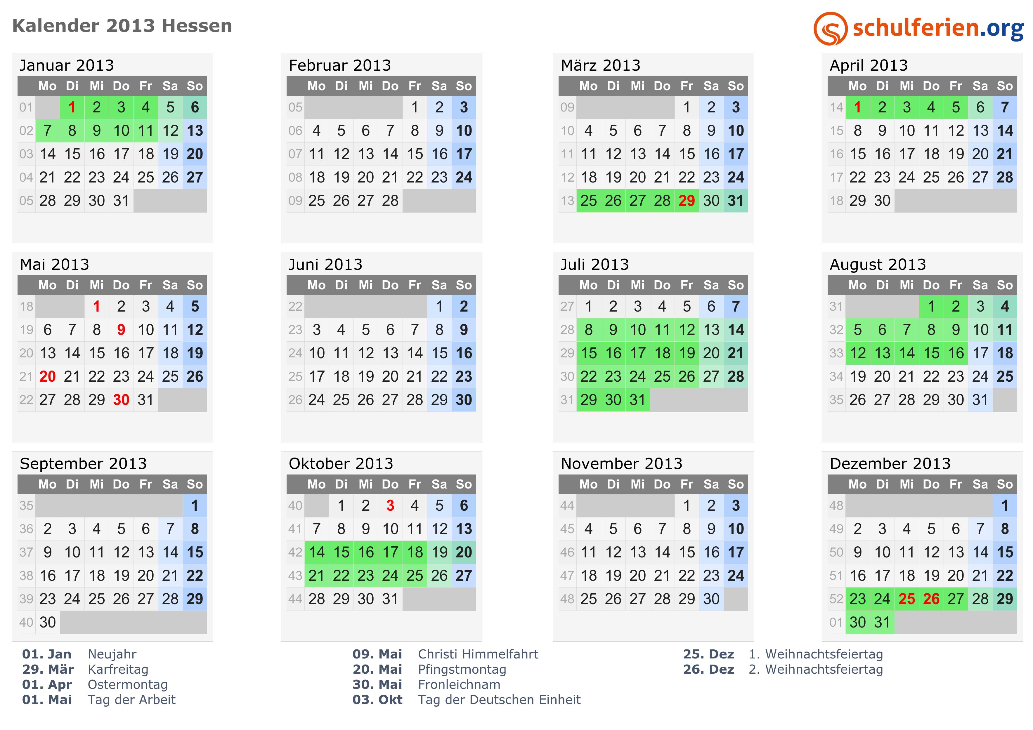 Kalender 2013 mit ferien und feiertagen hessen png pdf