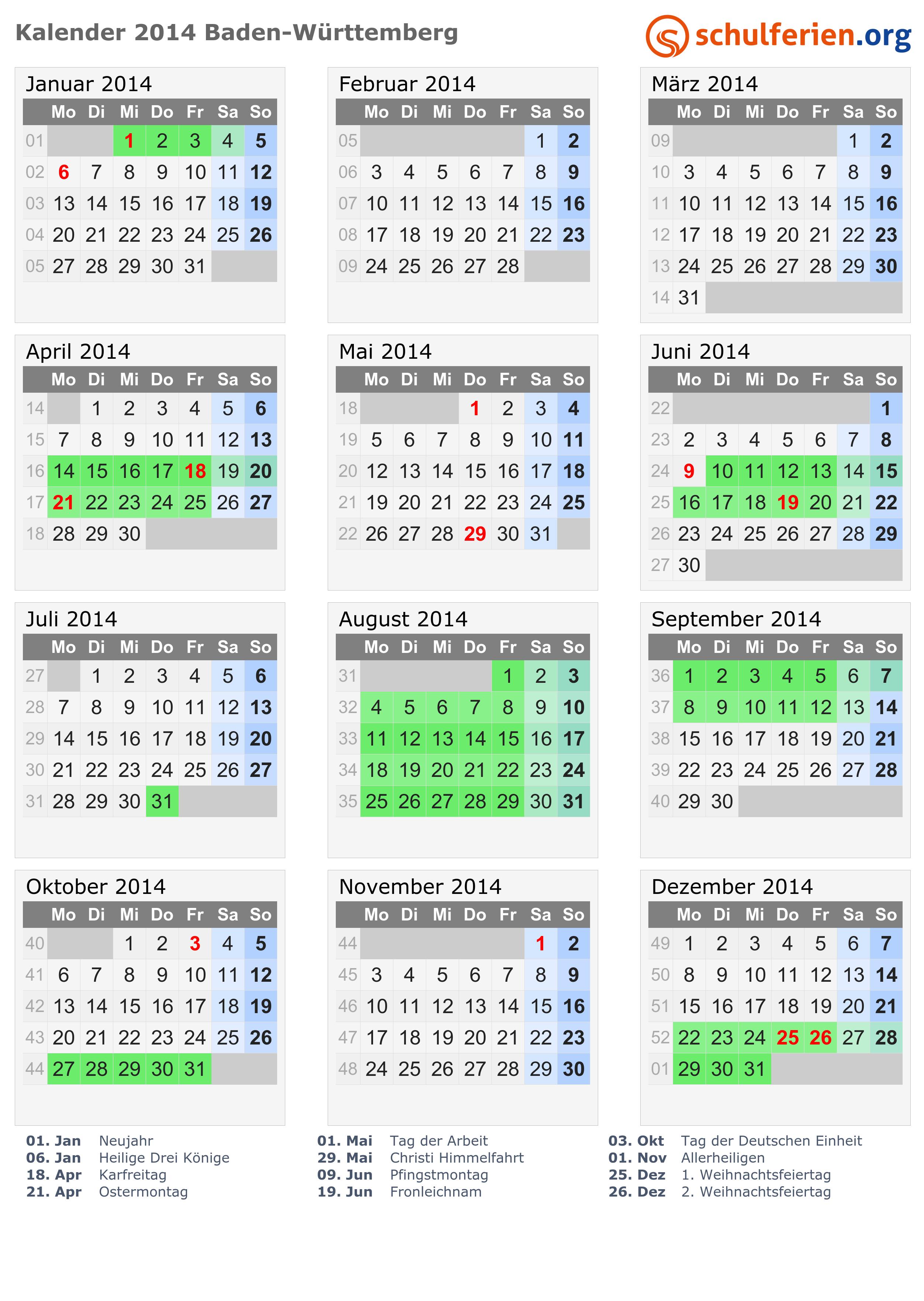Kalender 2014 + Ferien Baden-Württemberg, Feiertage