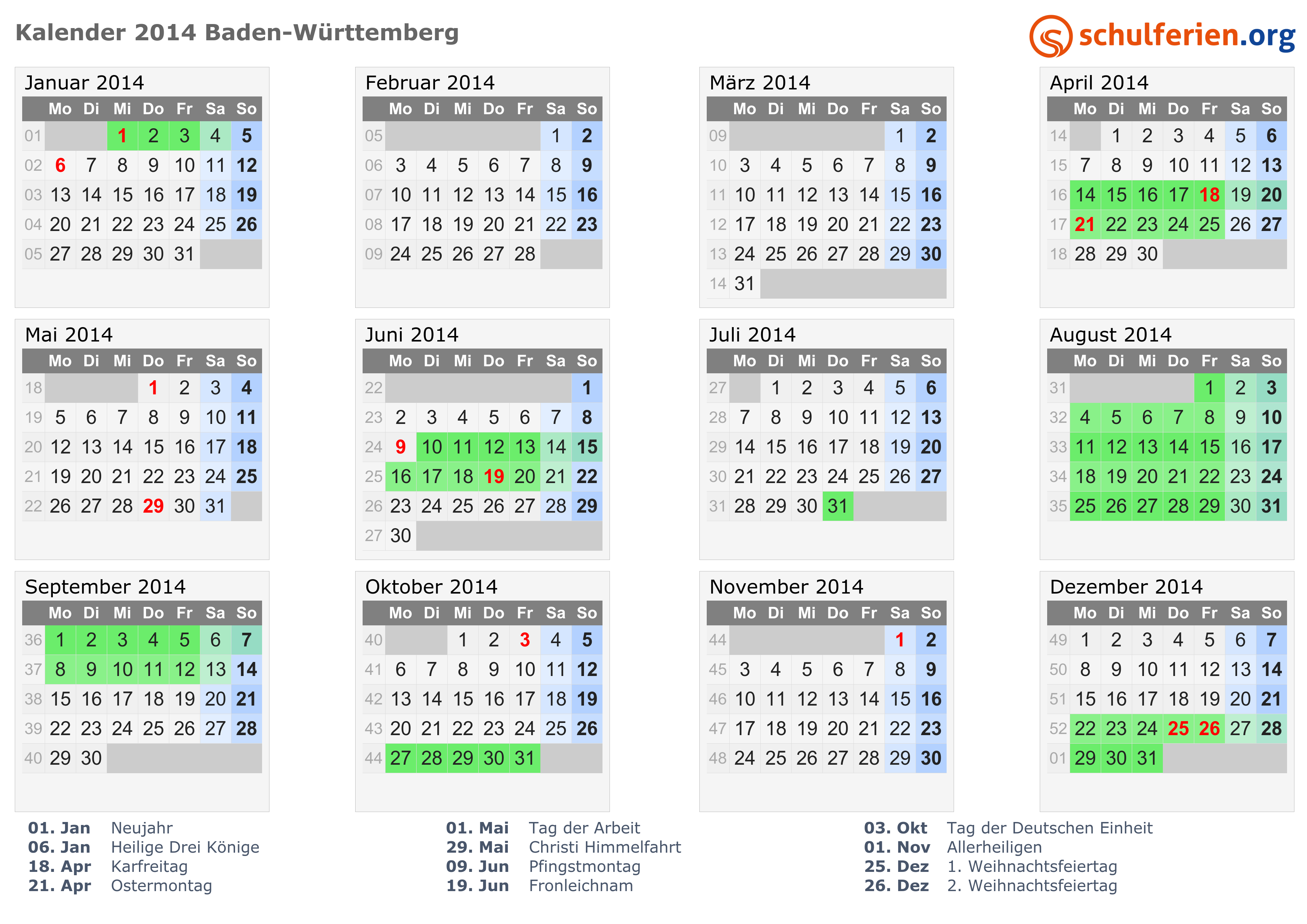 Kalender 2014 Ferien Baden Württemberg Feiertage
