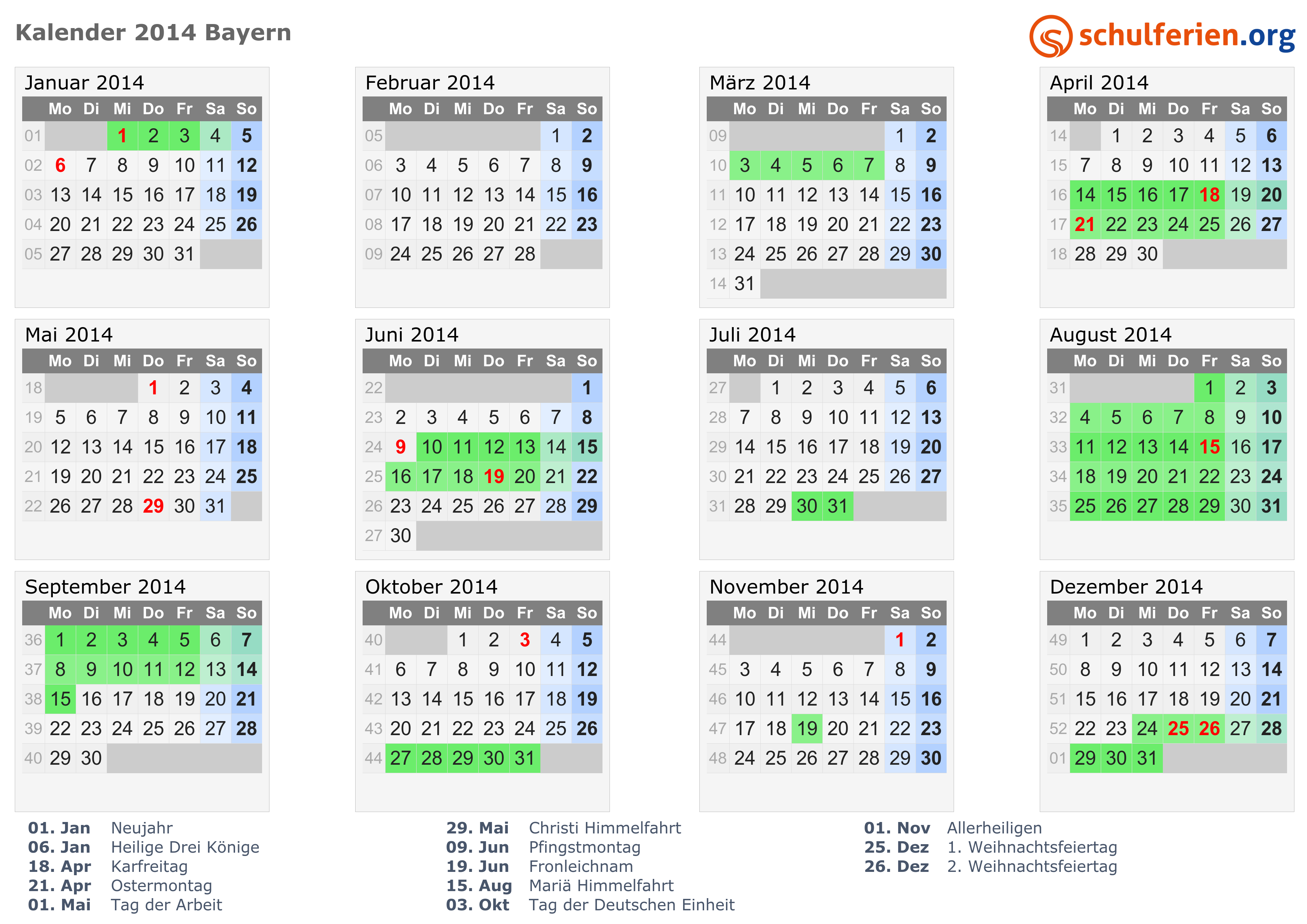 Kalender 2014 mit ferien und feiertagen bayern