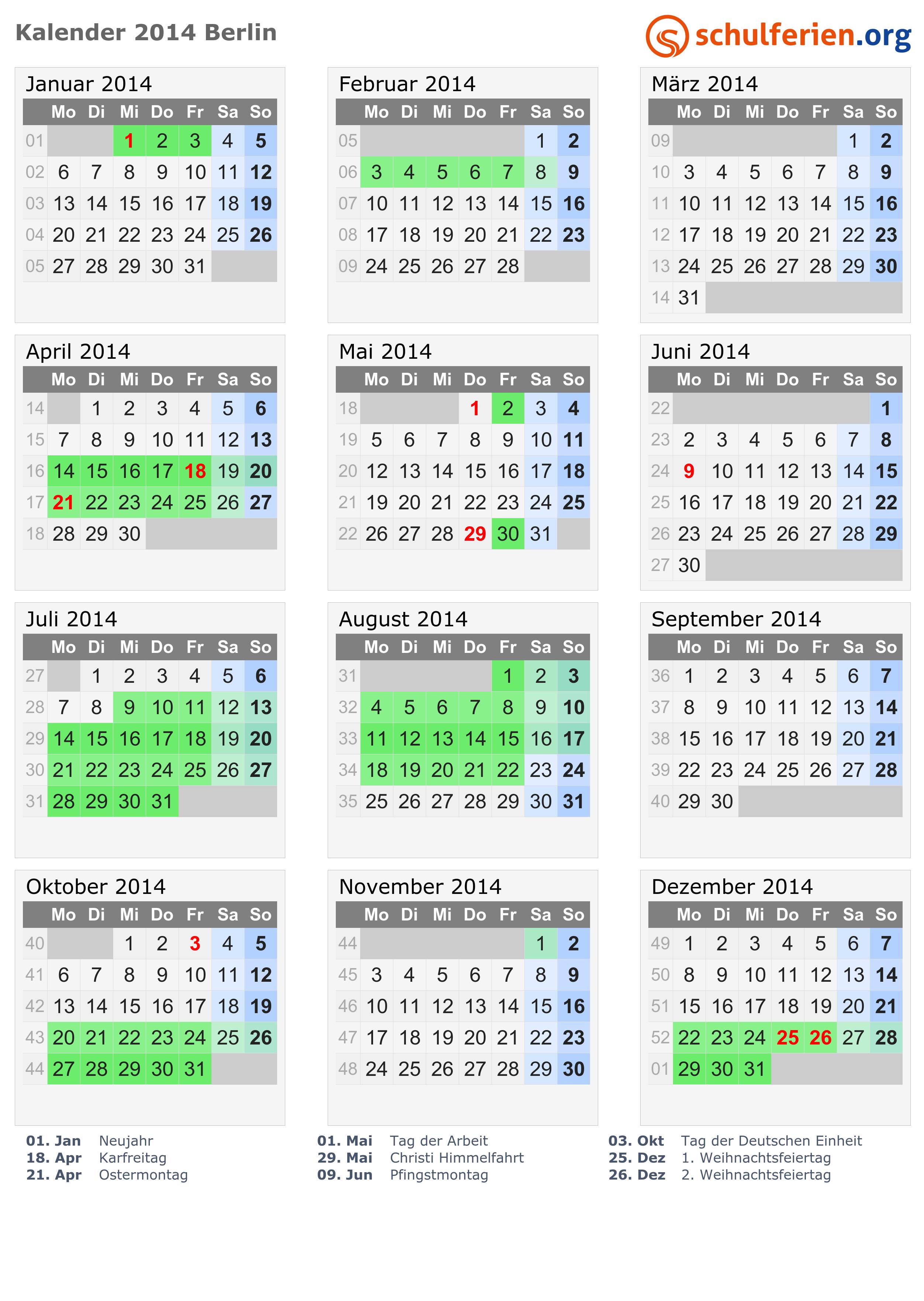 Kalender 2014 Ferien Berlin Feiertage