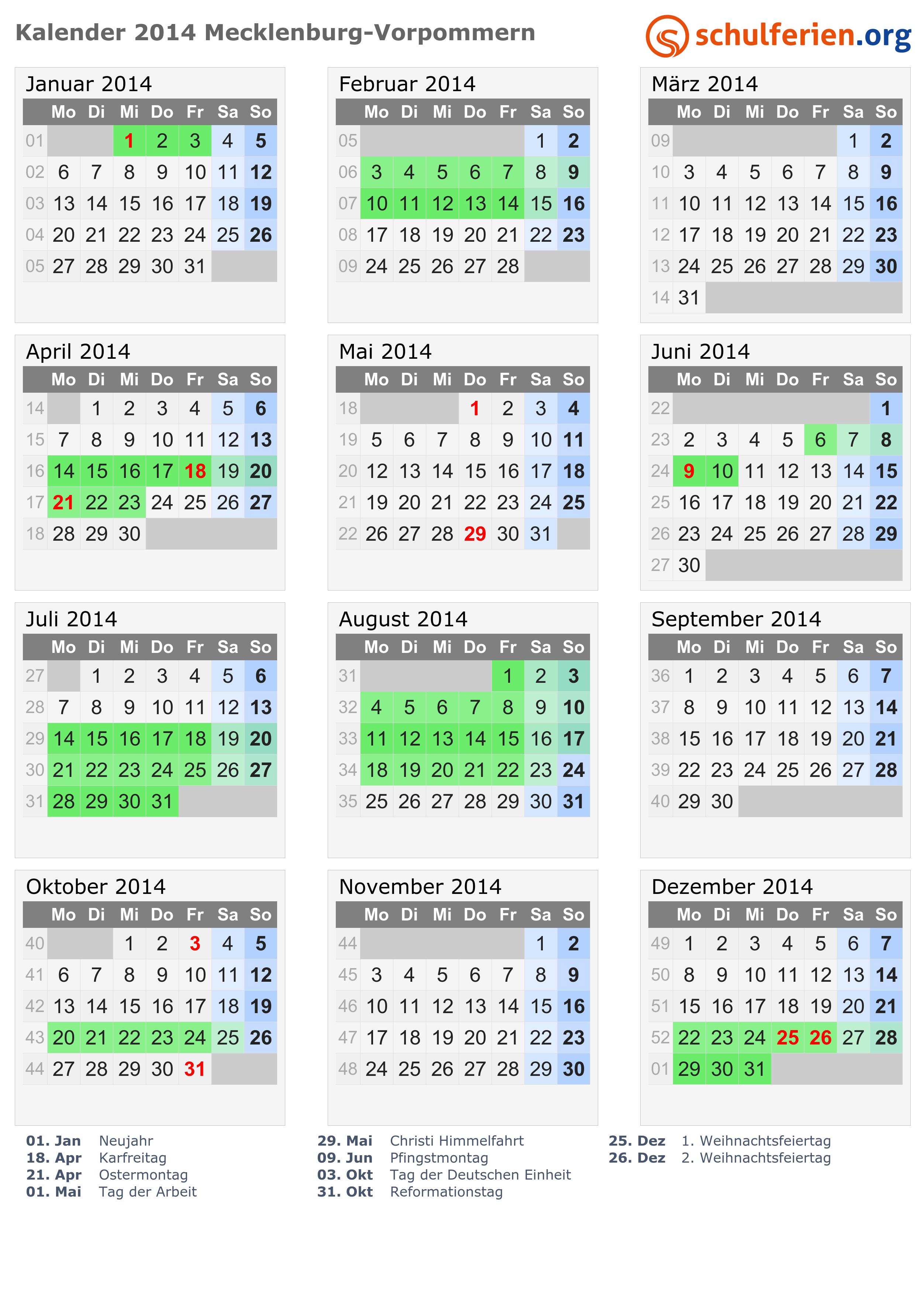 Kalender 2014 Ferien Mecklenburg Vorpommern Feiertage