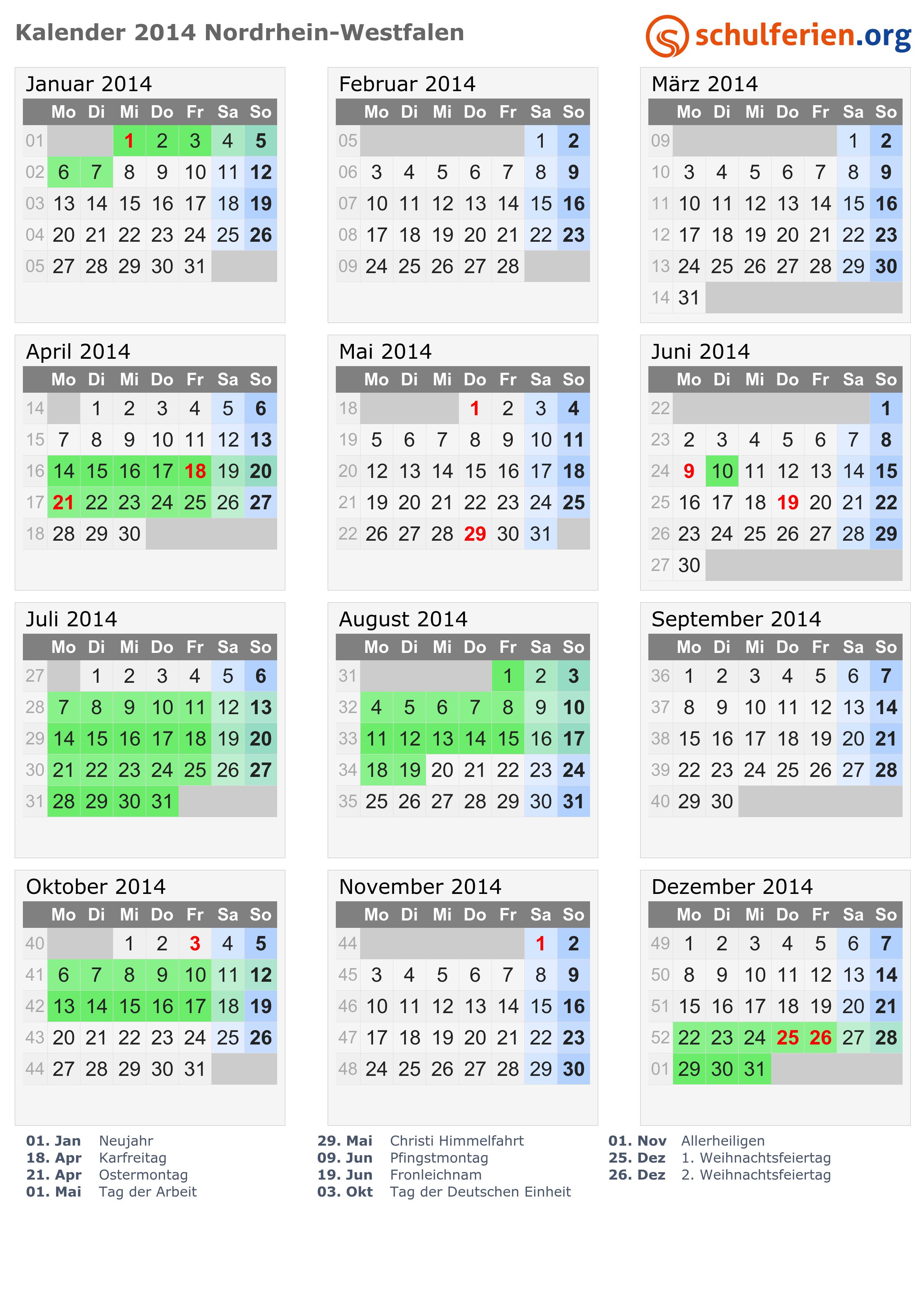 Kalender 2014 mit ferien und feiertagen nordrhein westfalen