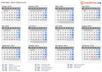 Kalender 2014 österreich Mit Feiertagen