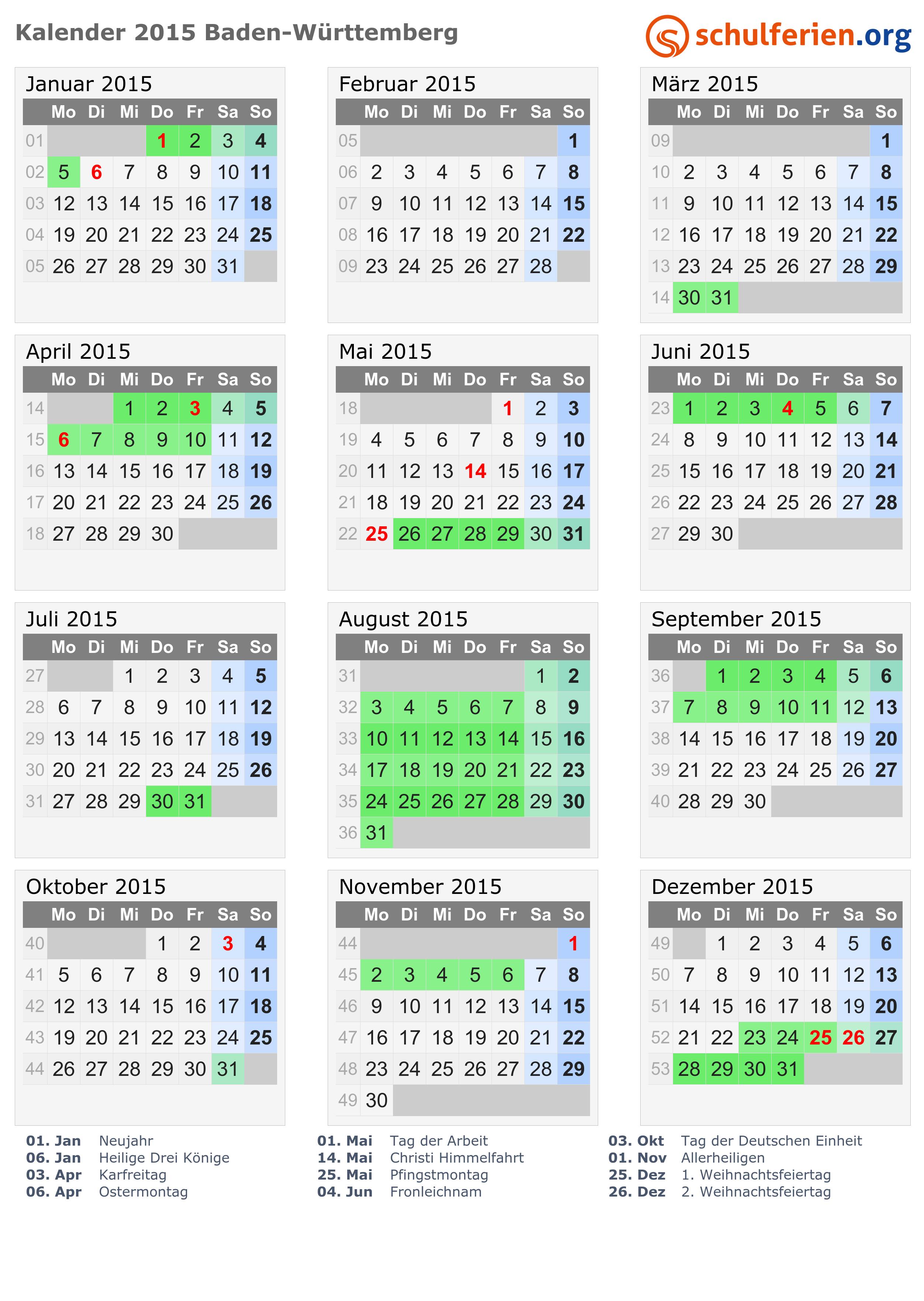 Kalender 2015 Ferien Baden Württemberg Feiertage