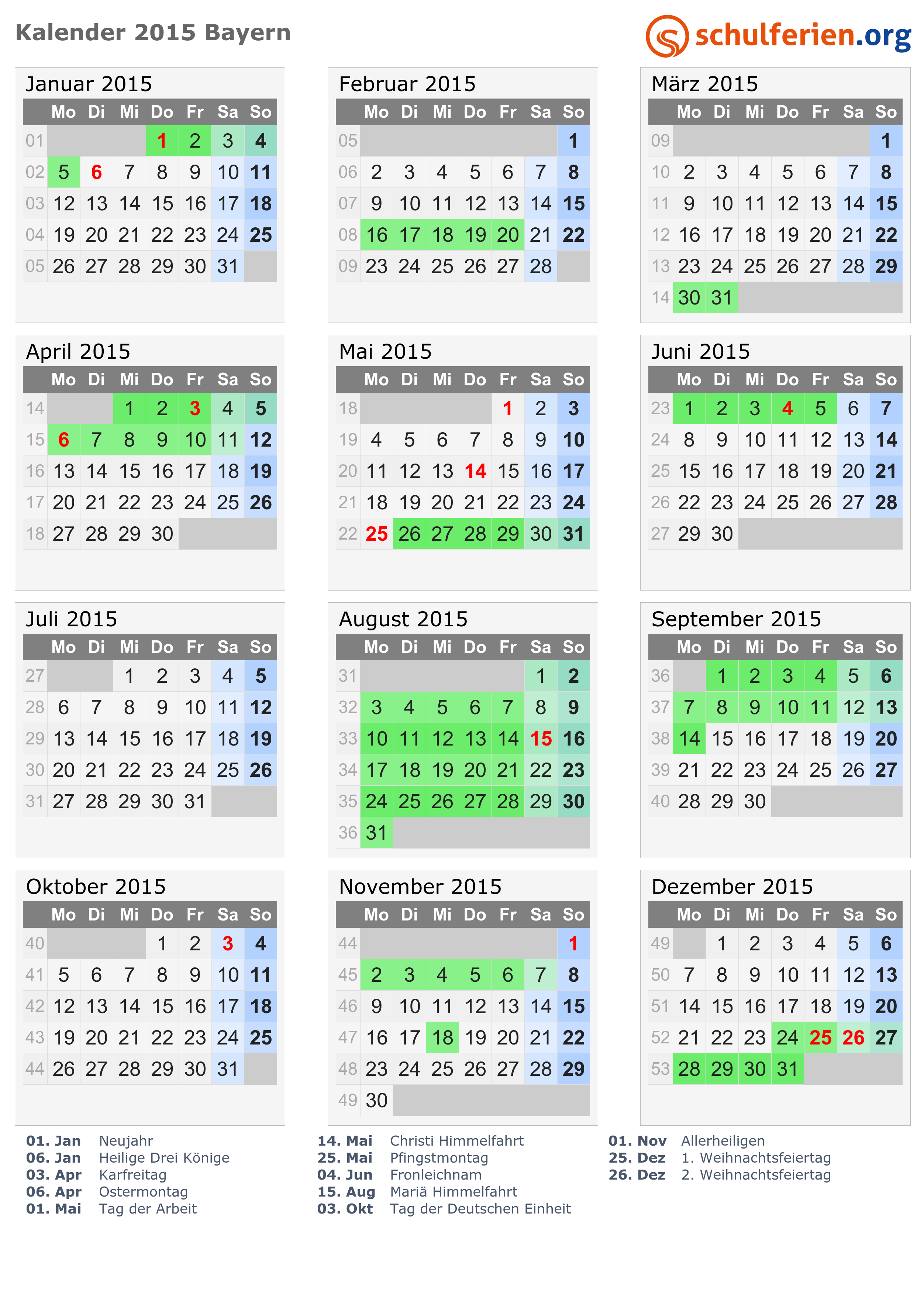kalender 2015 ferien bayern feiertage. Black Bedroom Furniture Sets. Home Design Ideas