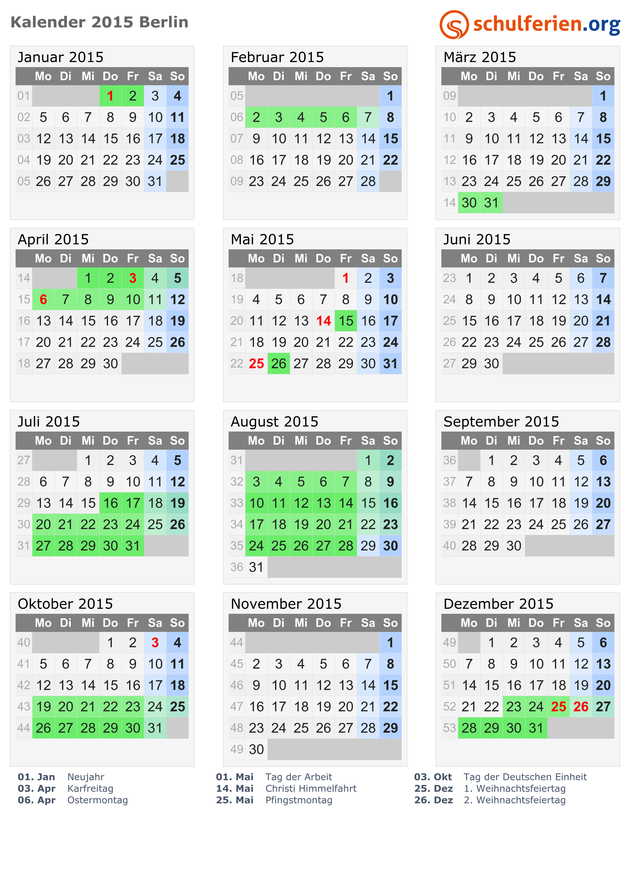 Kalender 2019 zum Ausdrucken - mit Feiertagen