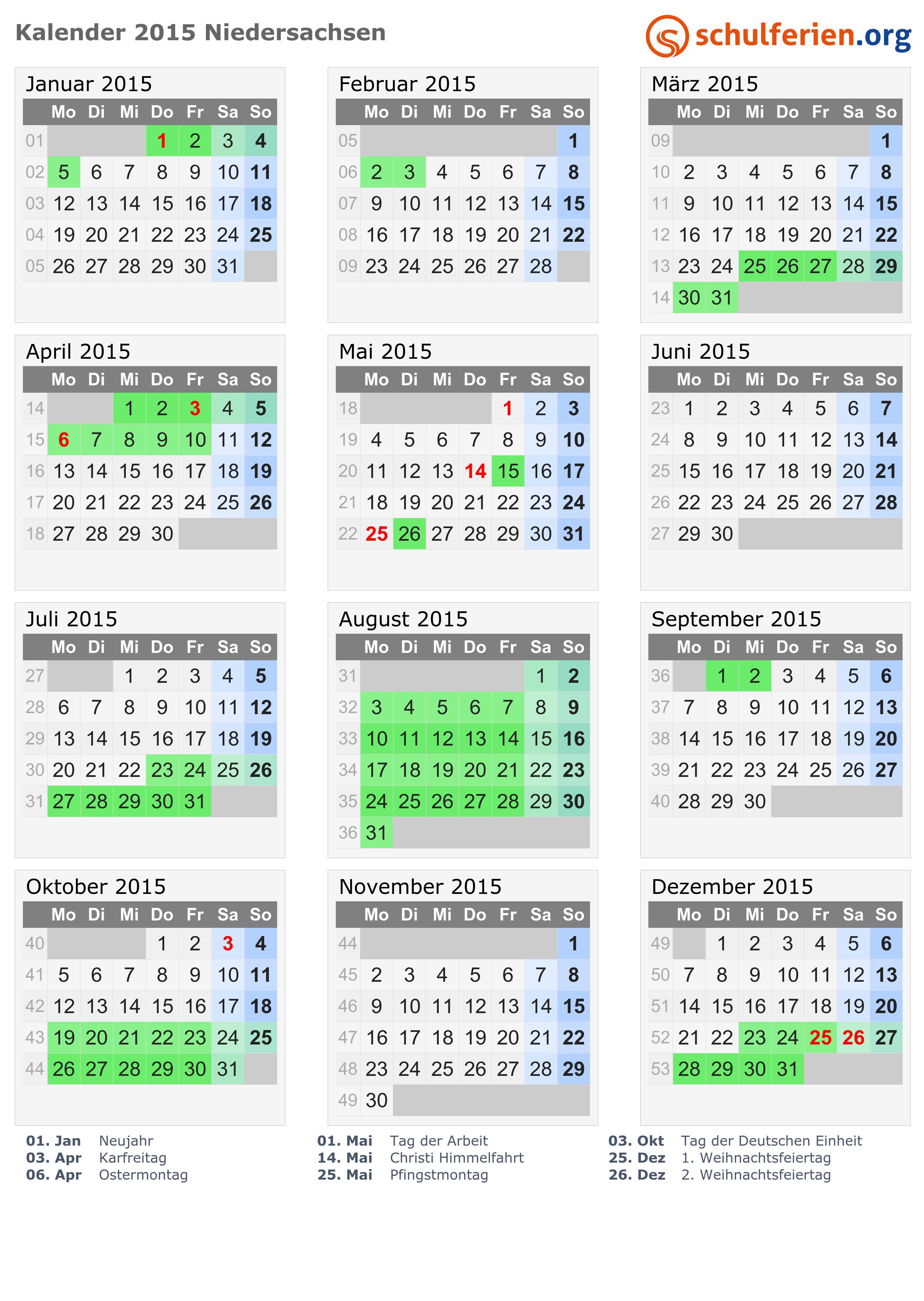 kalender 2015 ferien niedersachsen feiertage. Black Bedroom Furniture Sets. Home Design Ideas