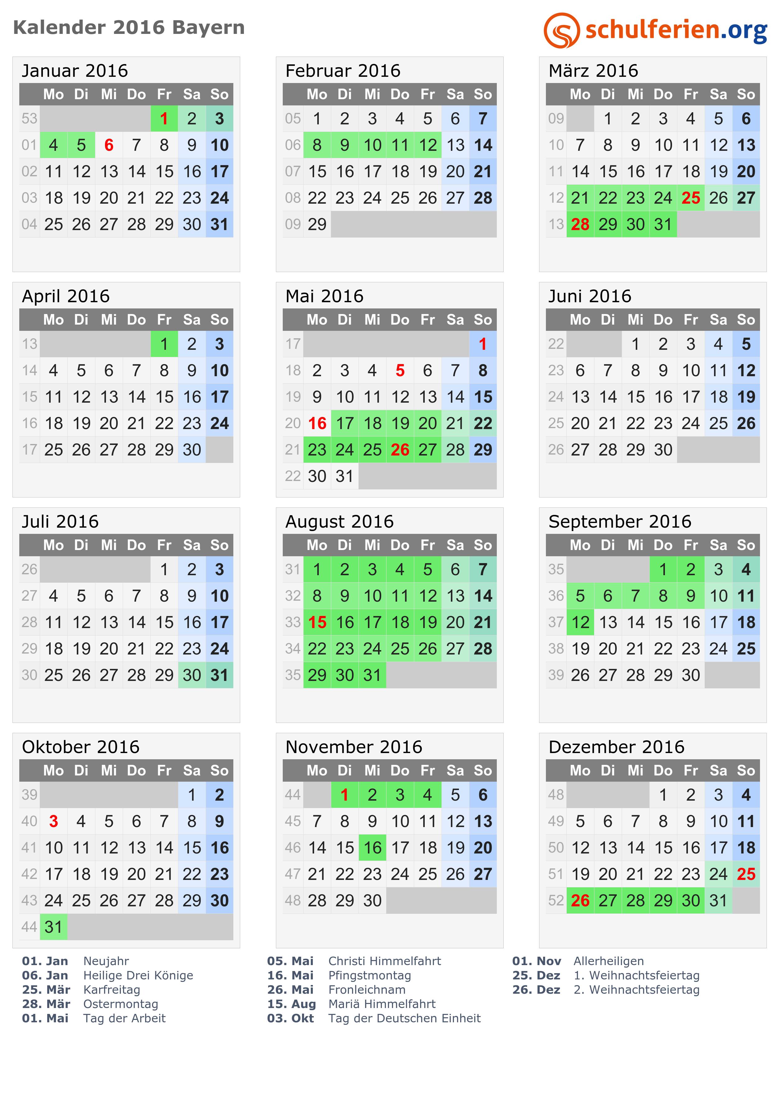 Kalender 2016 bayern zum ausdrucken kostenlos