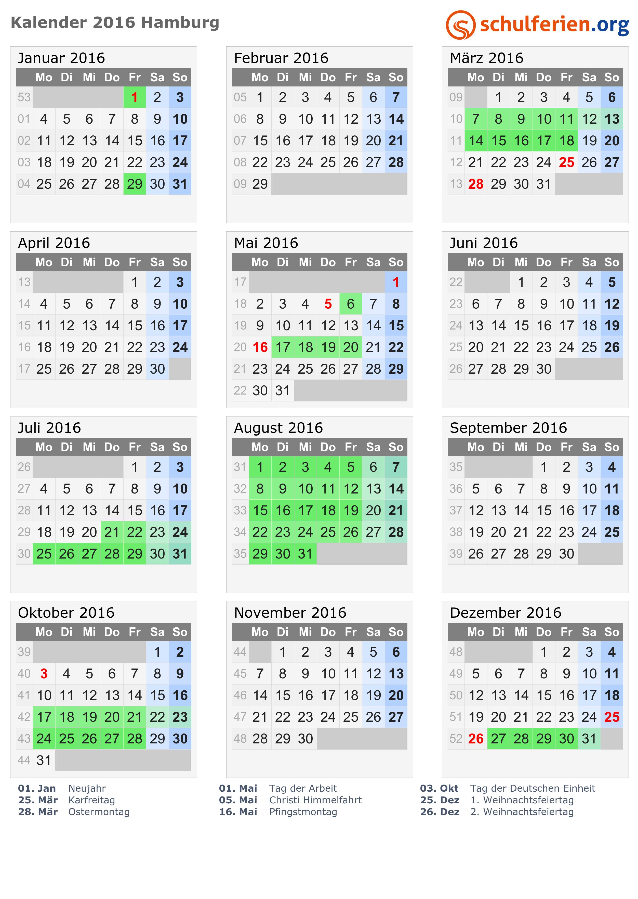 Ferien Hamburg 2018 - Ferienkalender zum Ausdrucken