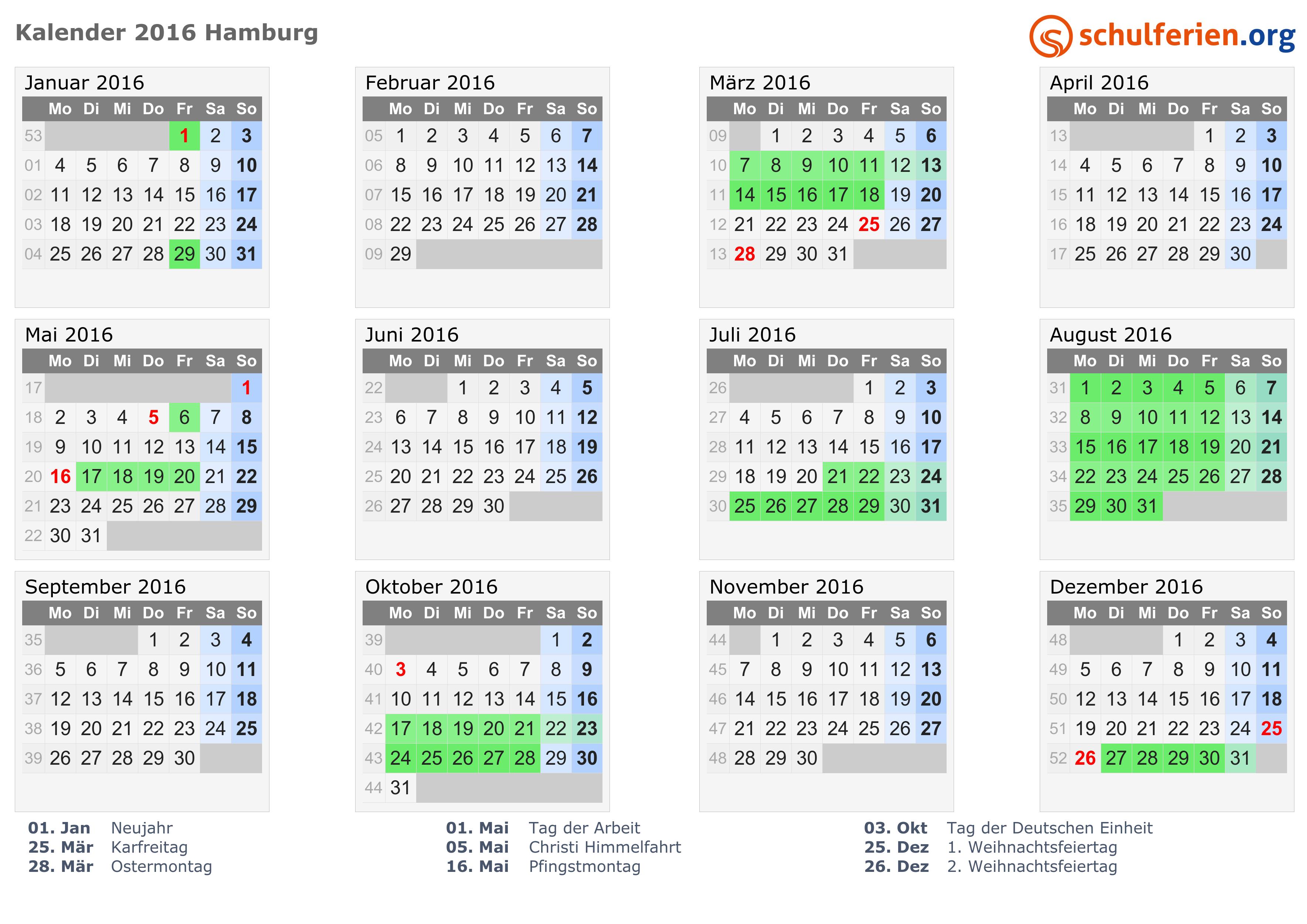 Ferien Hamburg 2015 - Ferienkalender zum Ausdrucken