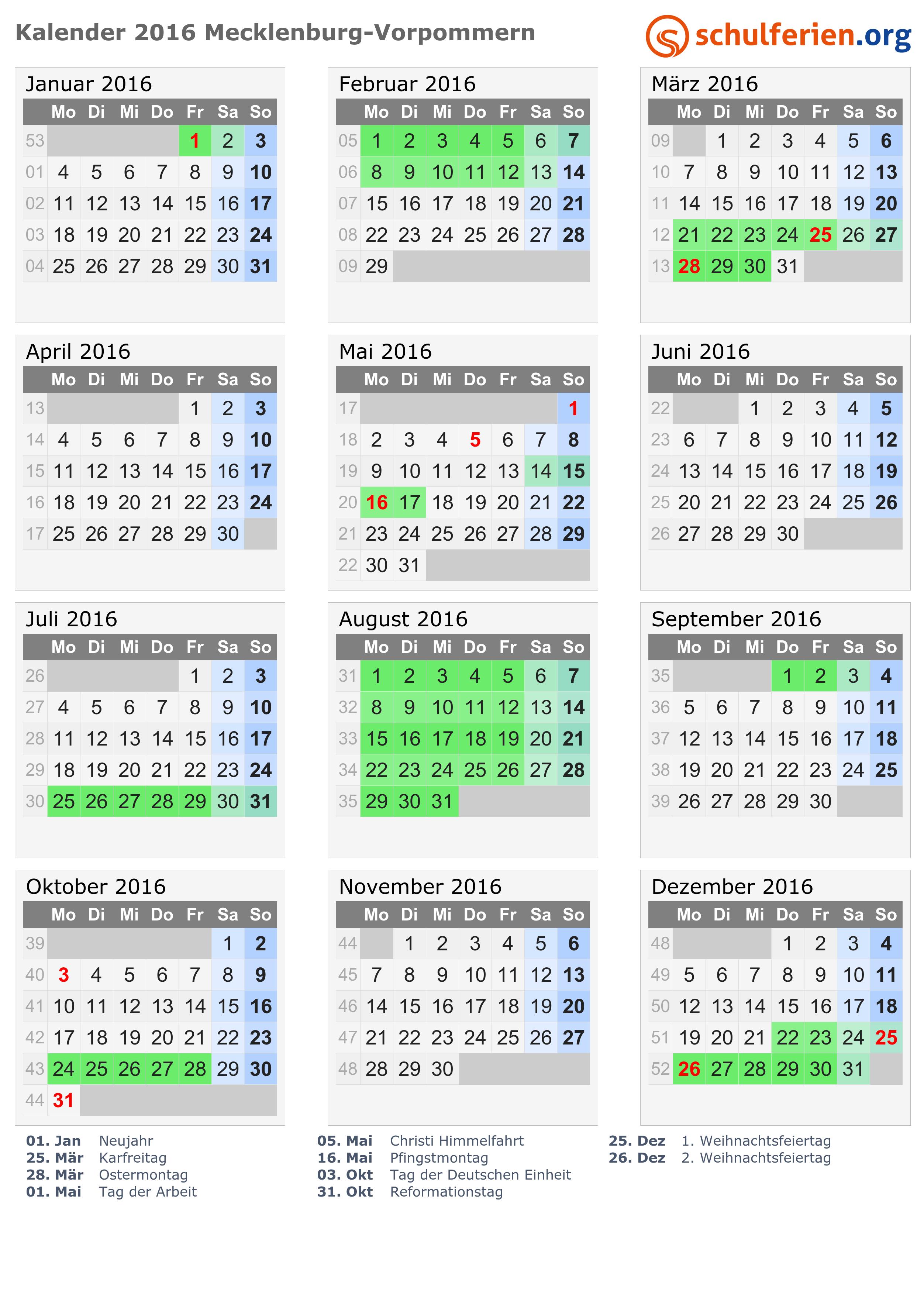 Kalender 2016 Ferien Mecklenburg Vorpommern Feiertage