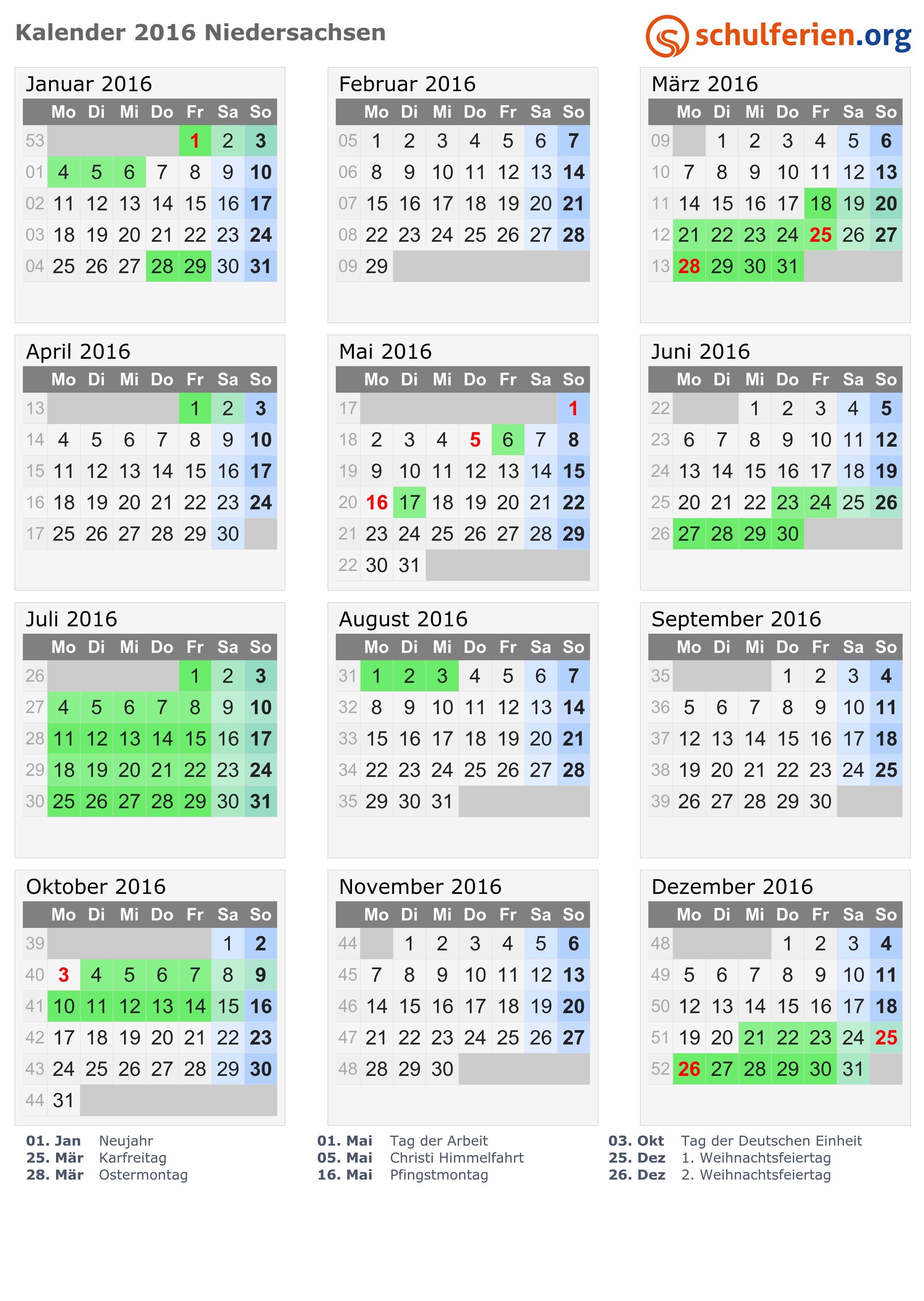 Kalender 2016 Ferien Niedersachsen Feiertage