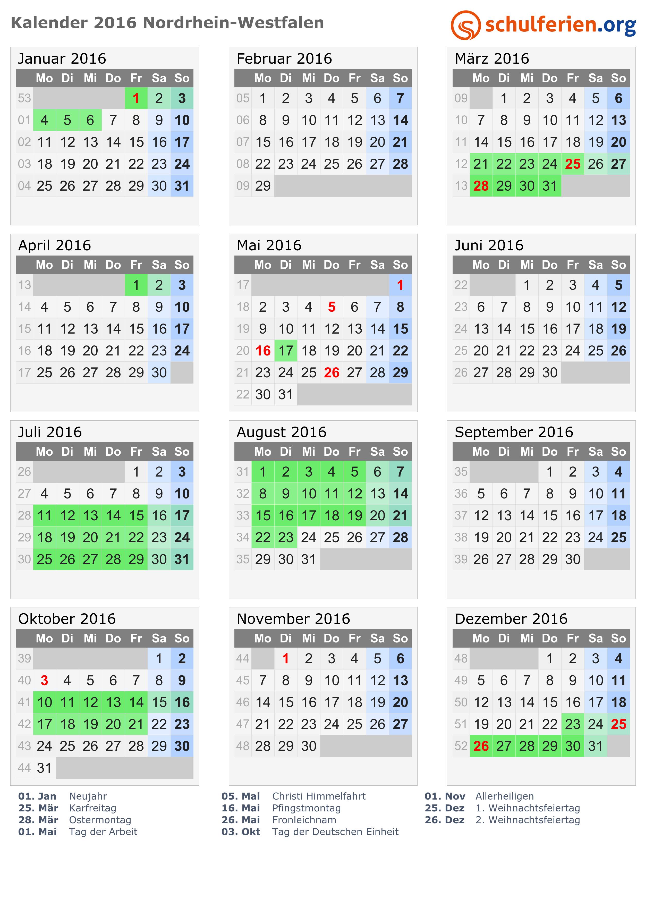 Kalender 2016 + Ferien Nordrhein-Westfalen, Feiertage