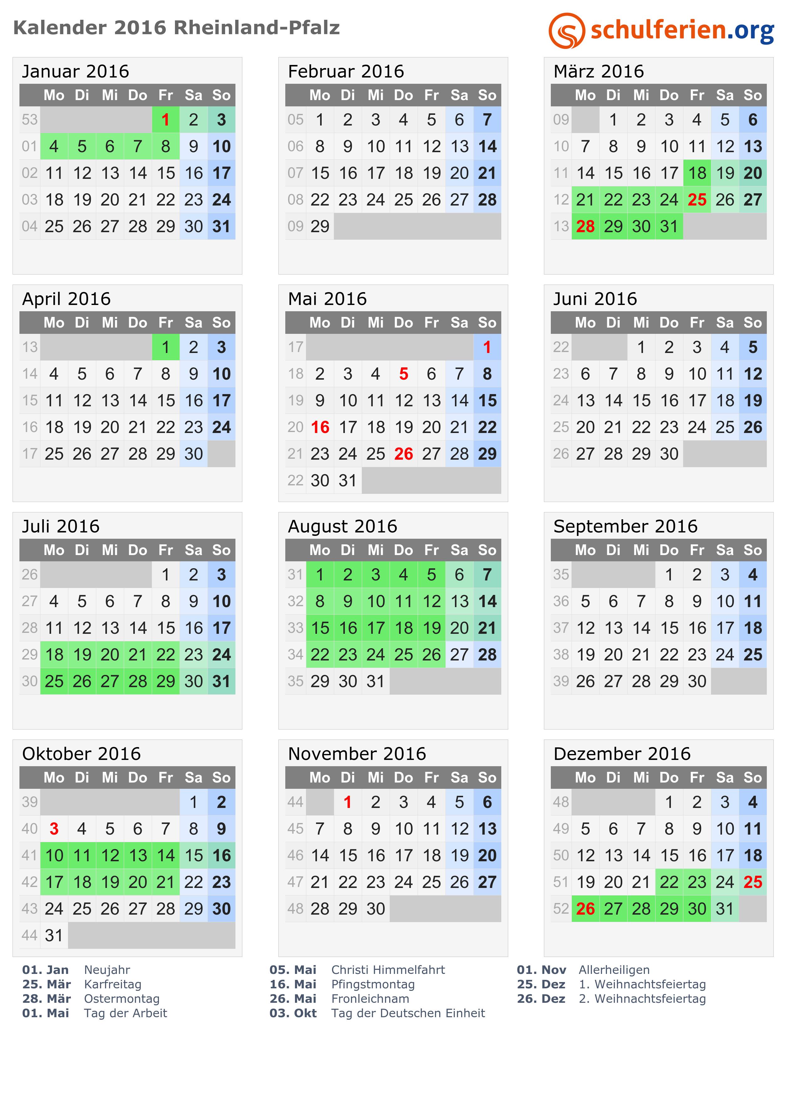 kalender 2016 ferien rheinland pfalz feiertage. Black Bedroom Furniture Sets. Home Design Ideas