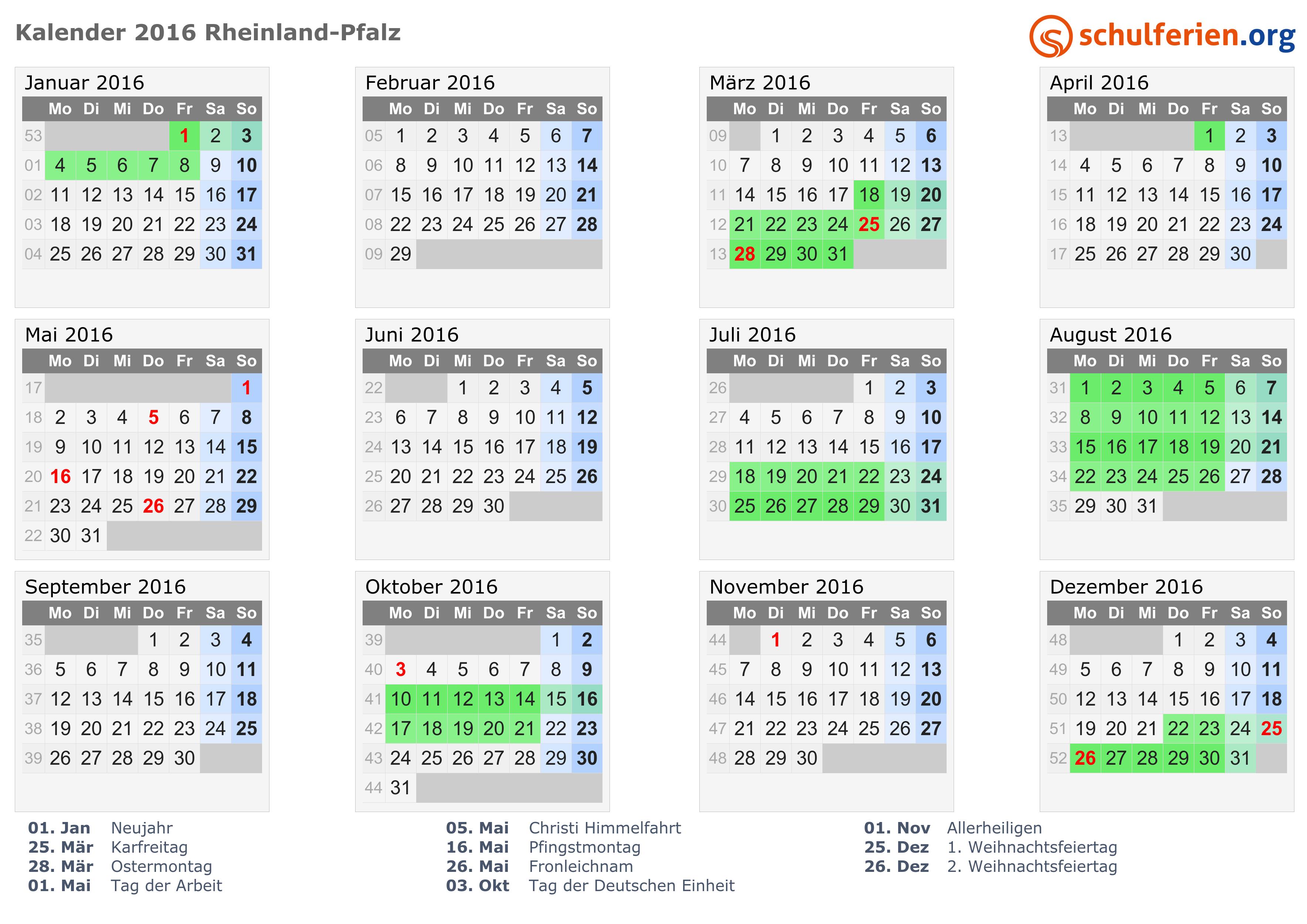 Kalender 2016   Ferien Rheinland-Pfalz, Feiertage