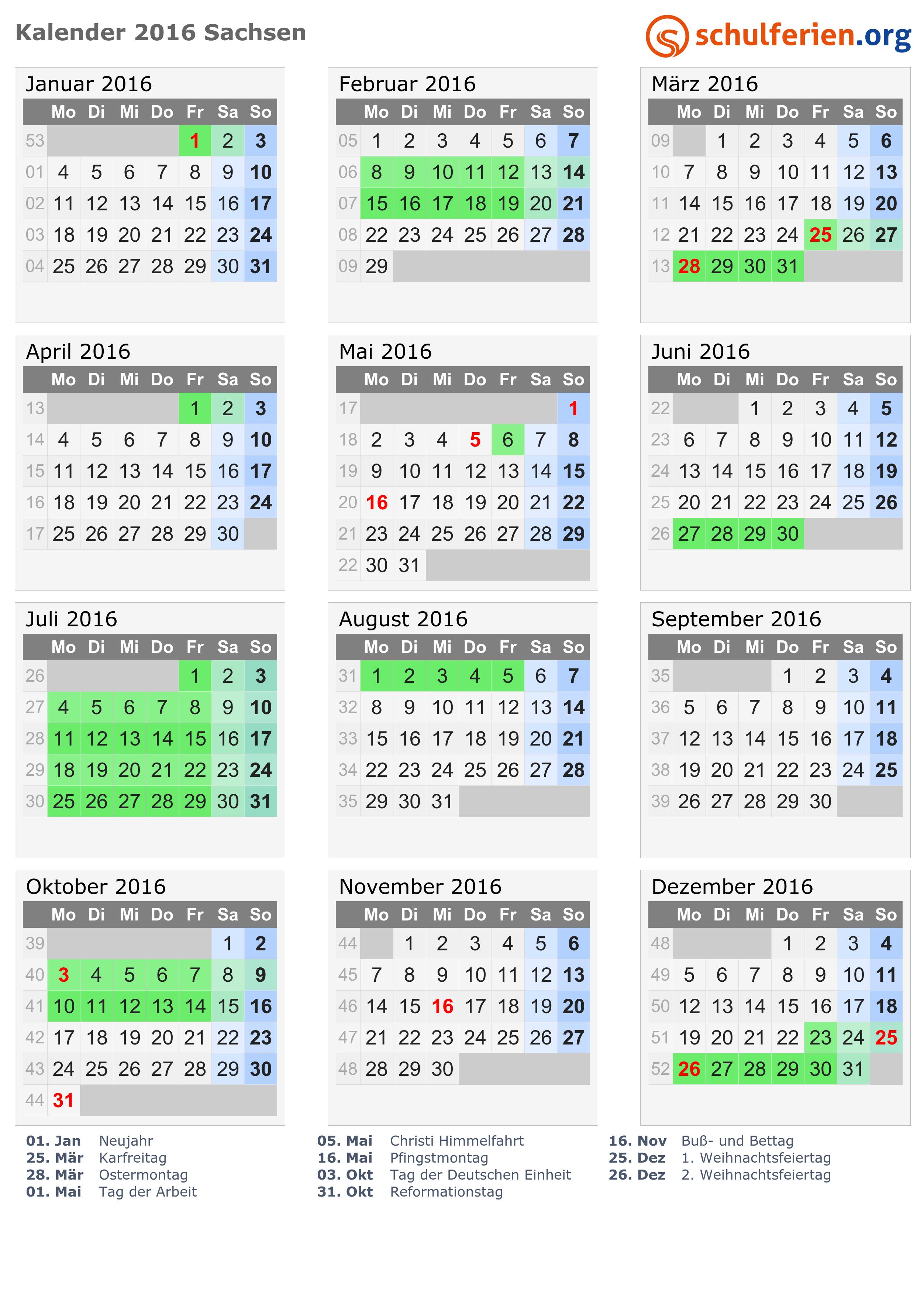 kalender 2016 ferien sachsen feiertage. Black Bedroom Furniture Sets. Home Design Ideas