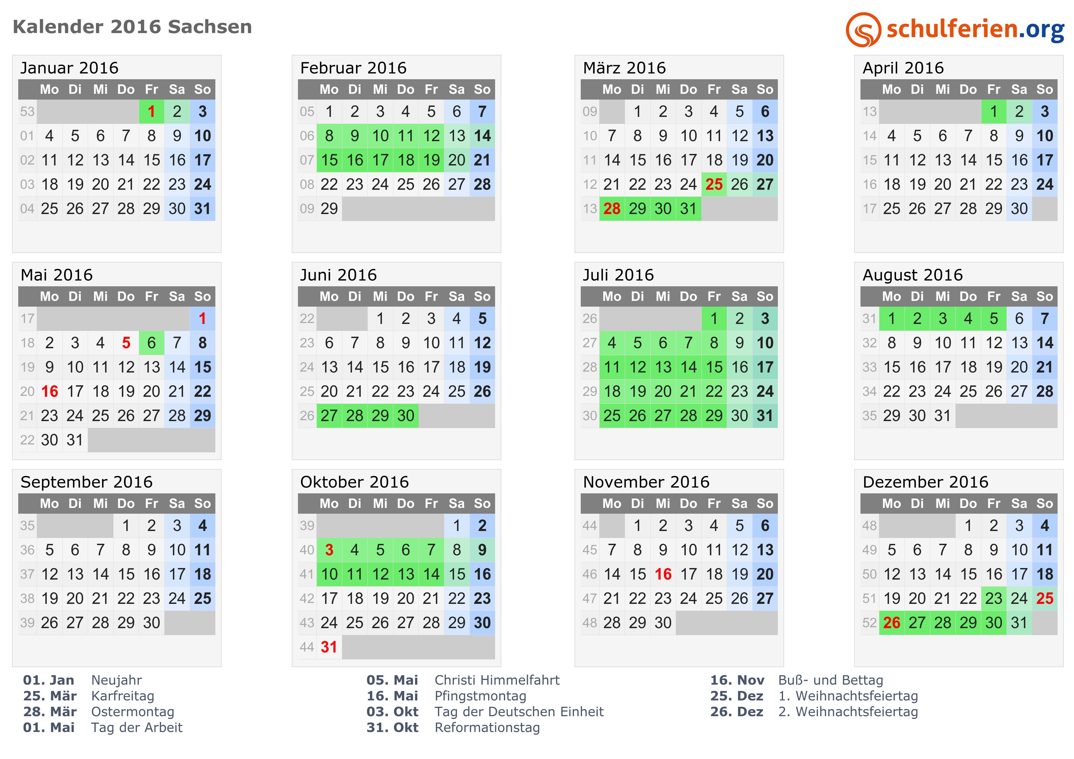 Kalender 2016 mit Ferien und Feiertagen Sachsen