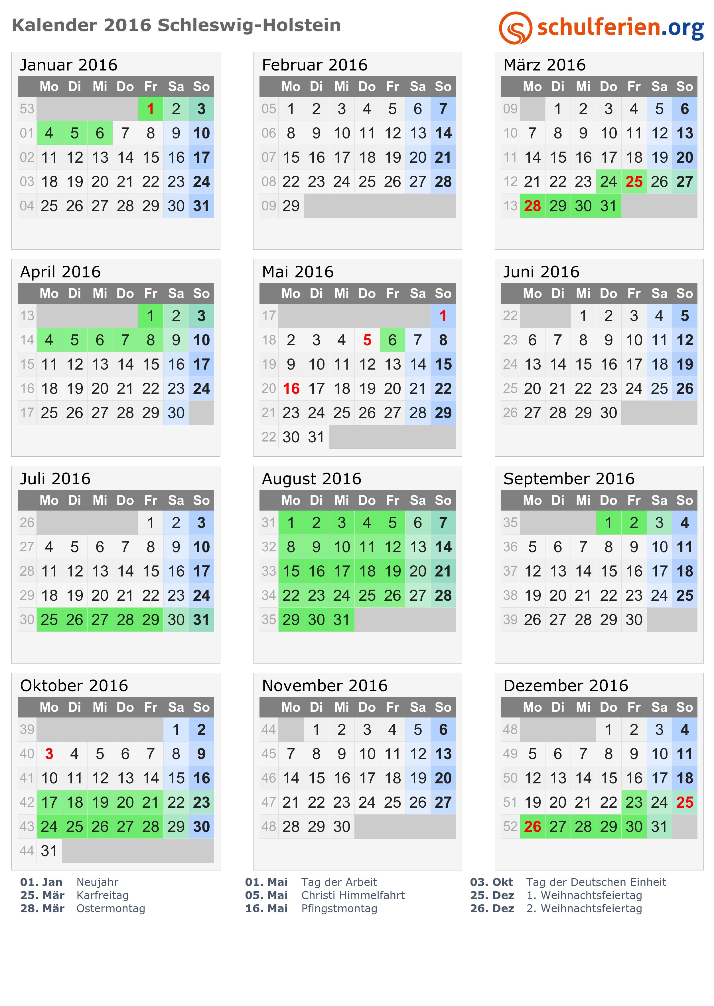 kalender 2016 ferien schleswig holstein feiertage. Black Bedroom Furniture Sets. Home Design Ideas