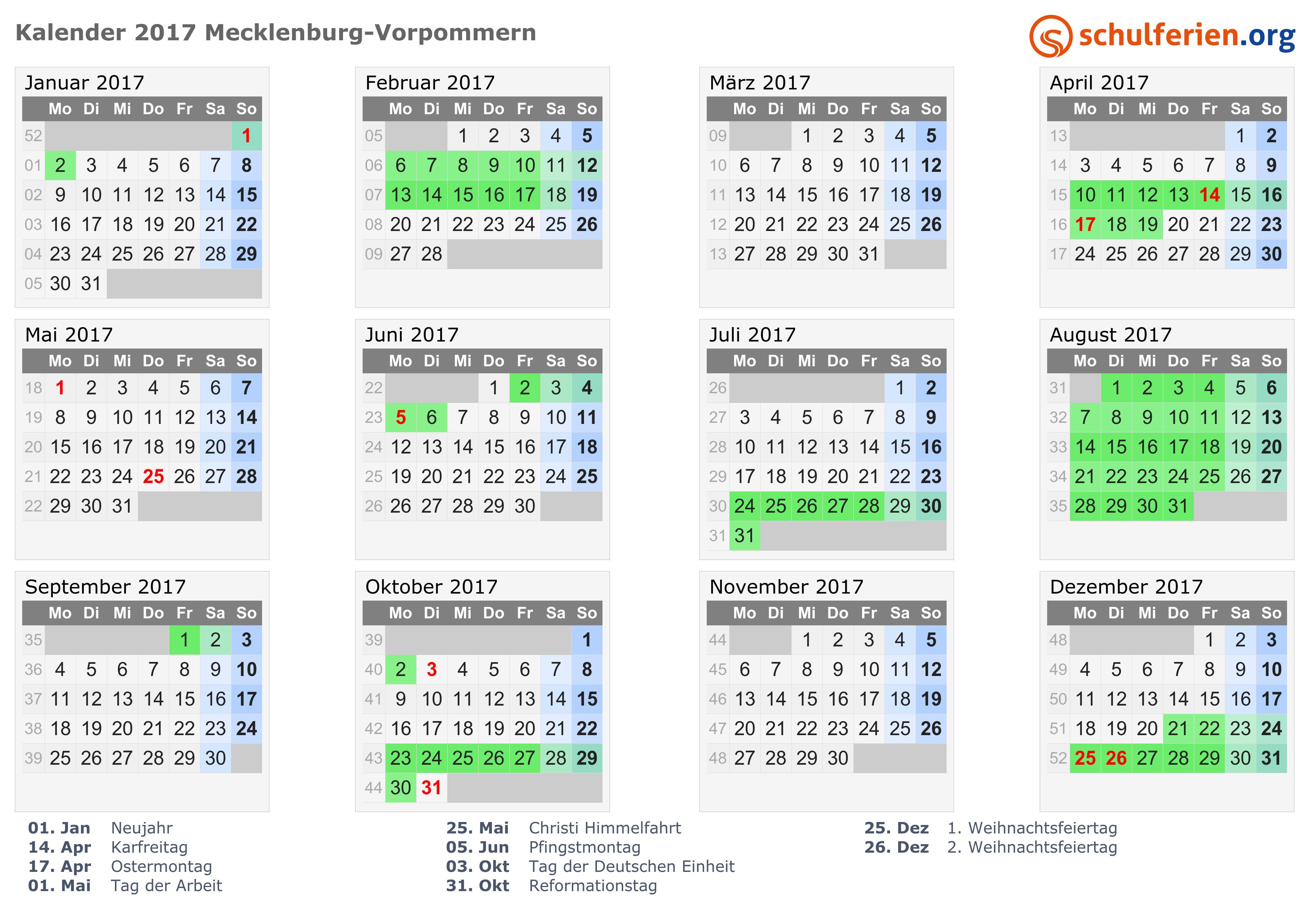 Kalender 2017 Ferien Mecklenburg Vorpommern Feiertage