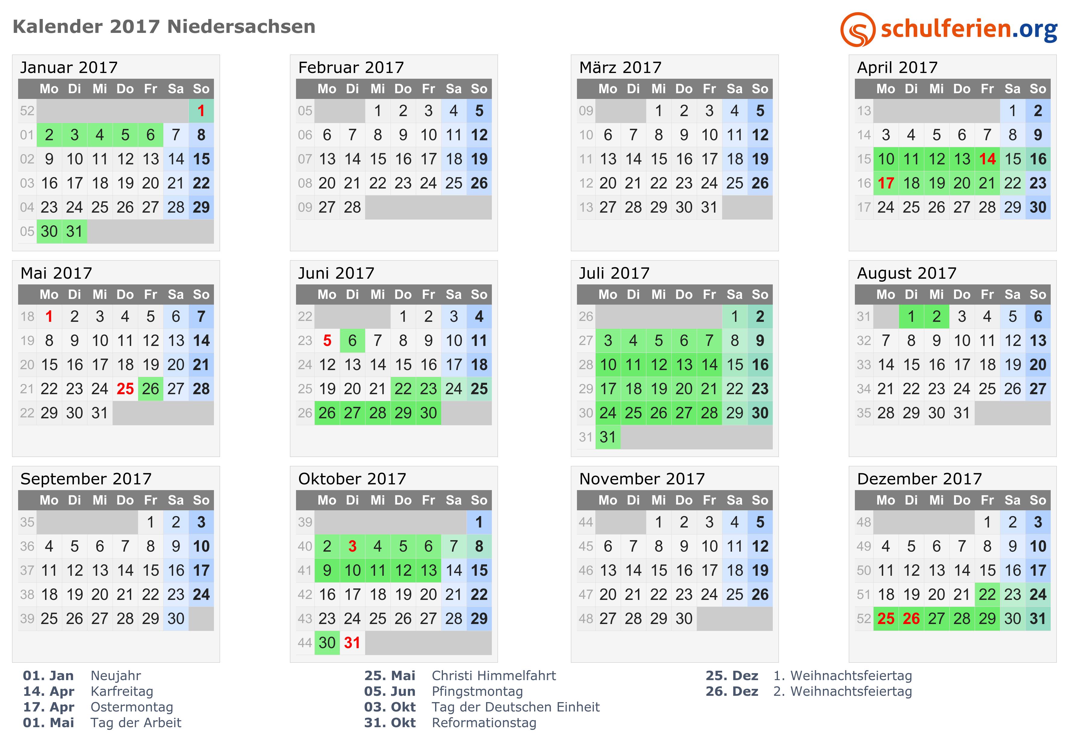 Kalender 2017 mit Ferien und Feiertagen Niedersachsen