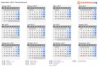 Kalender 2017 mit Feiertagen