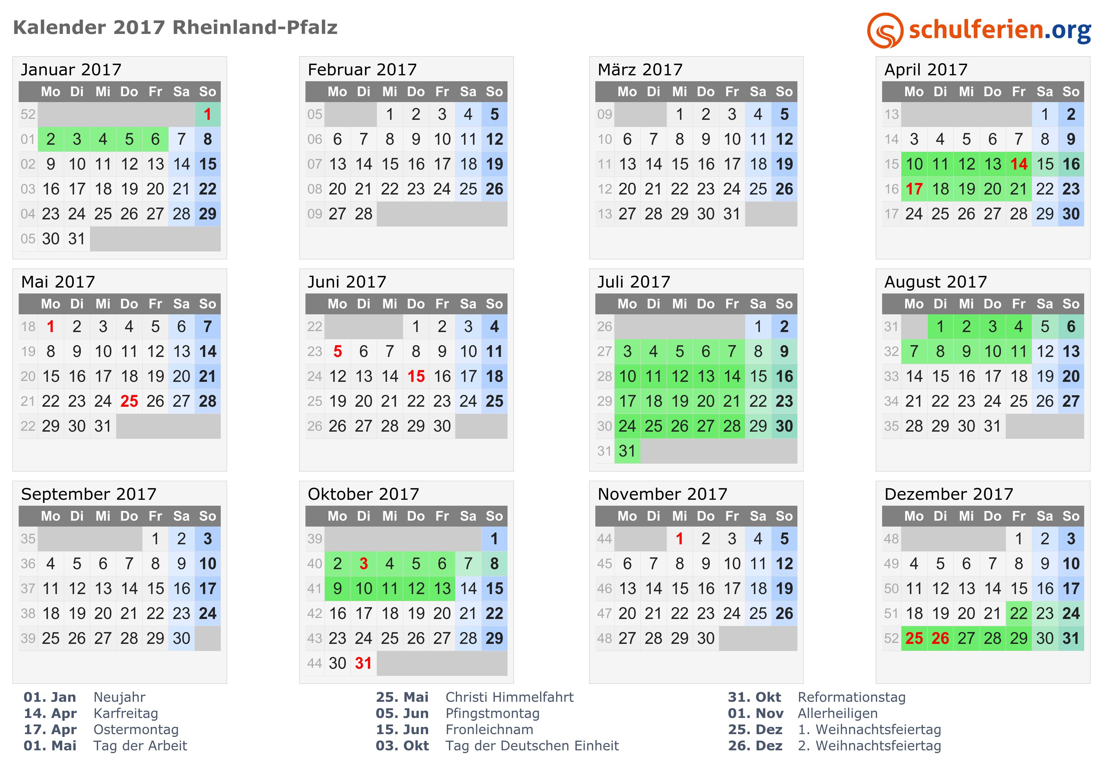 kalender 2017 ferien rheinland pfalz feiertage. Black Bedroom Furniture Sets. Home Design Ideas