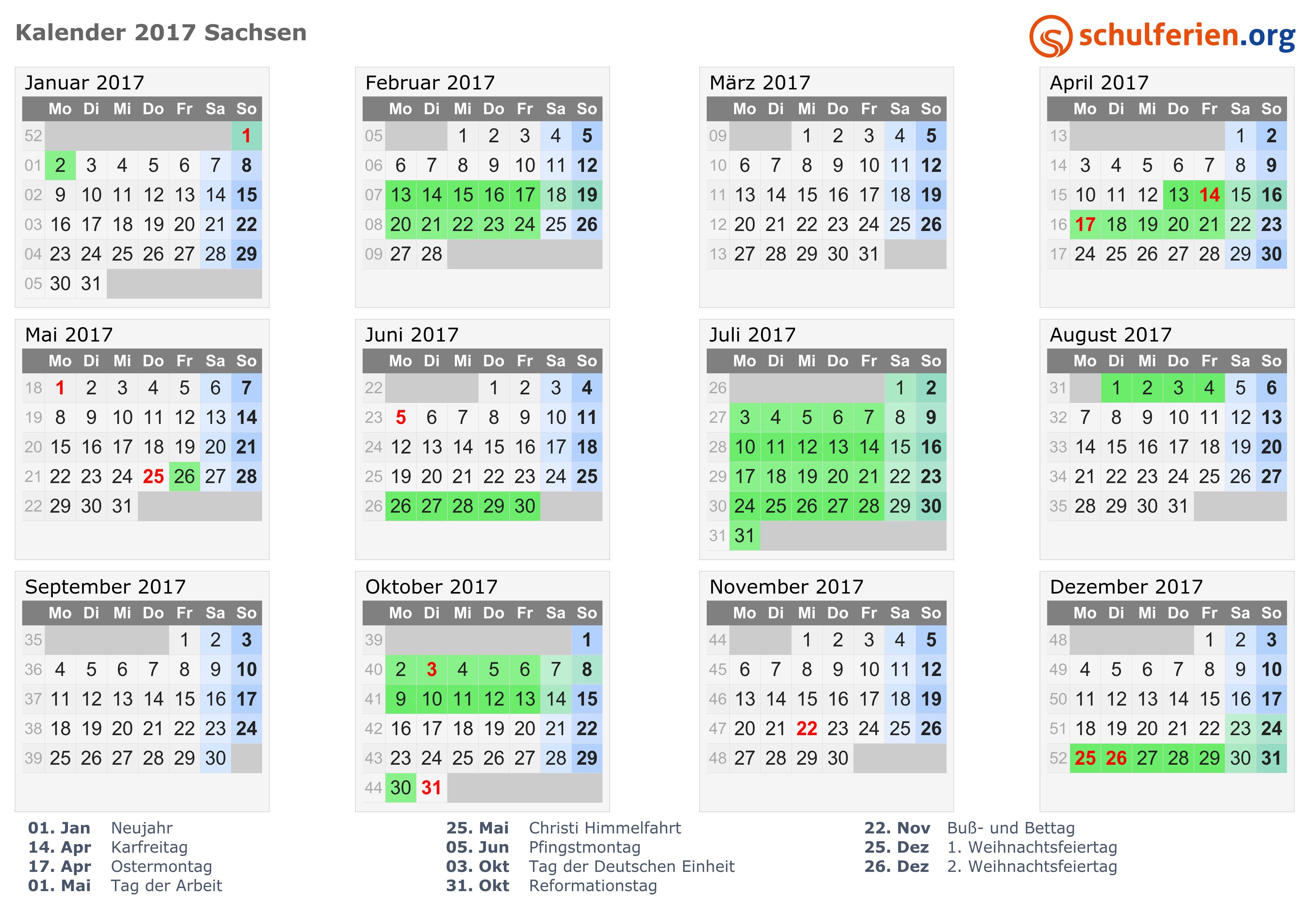 Kalender 2017 mit Ferien und