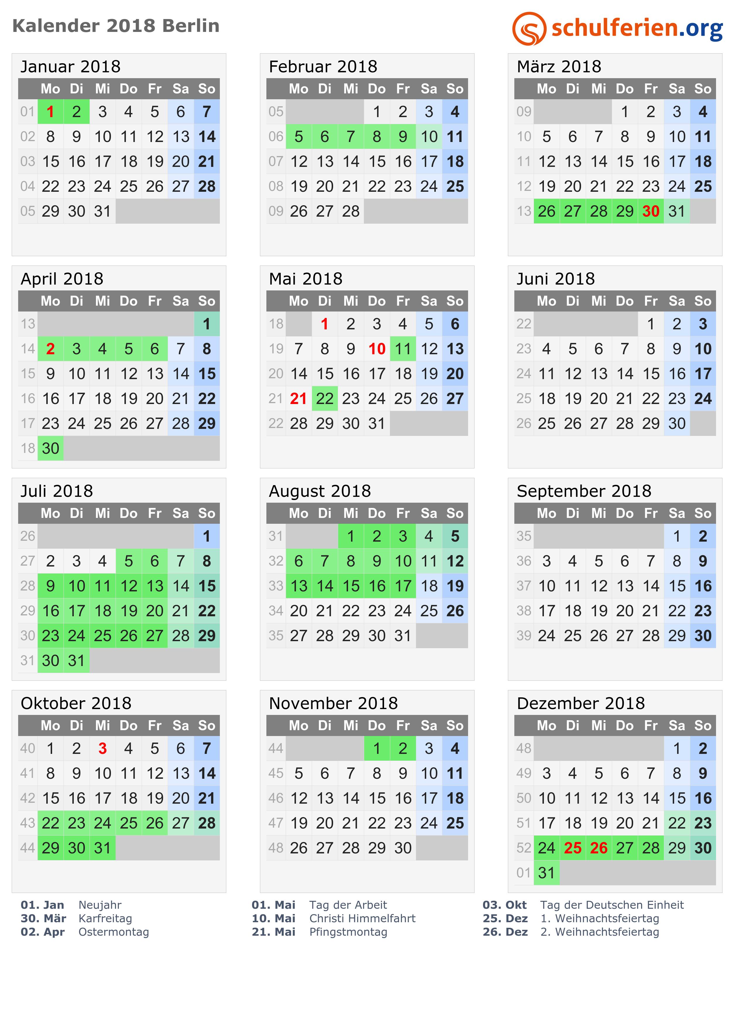 Kalender 2018/2019/2020 Berlin