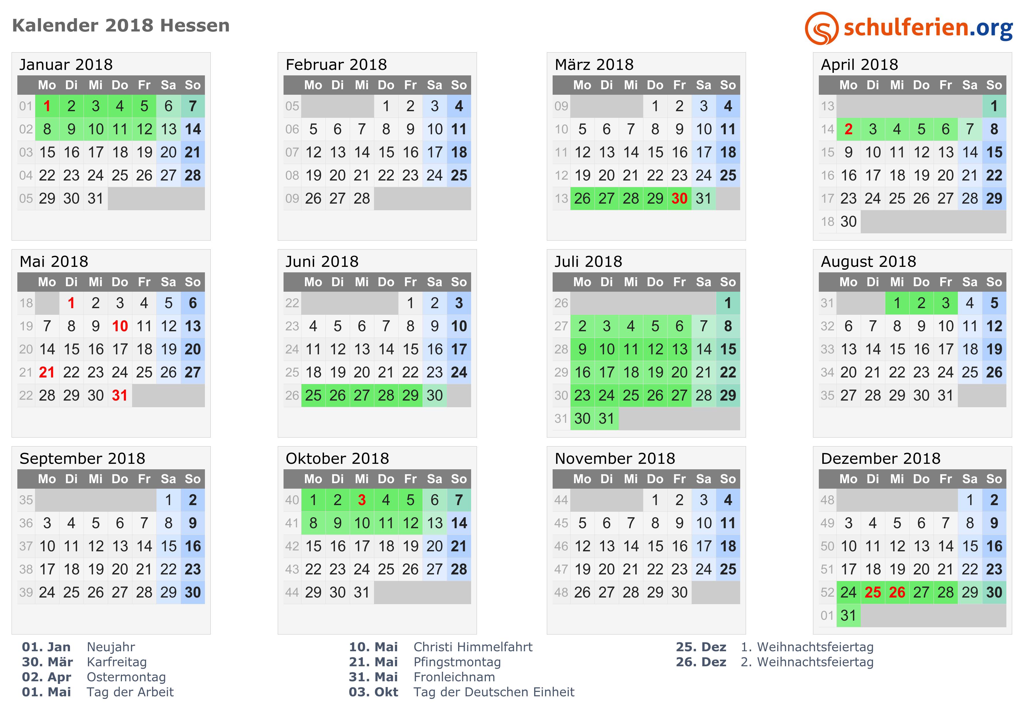 kalender 2018 ferien hessen feiertage. Black Bedroom Furniture Sets. Home Design Ideas