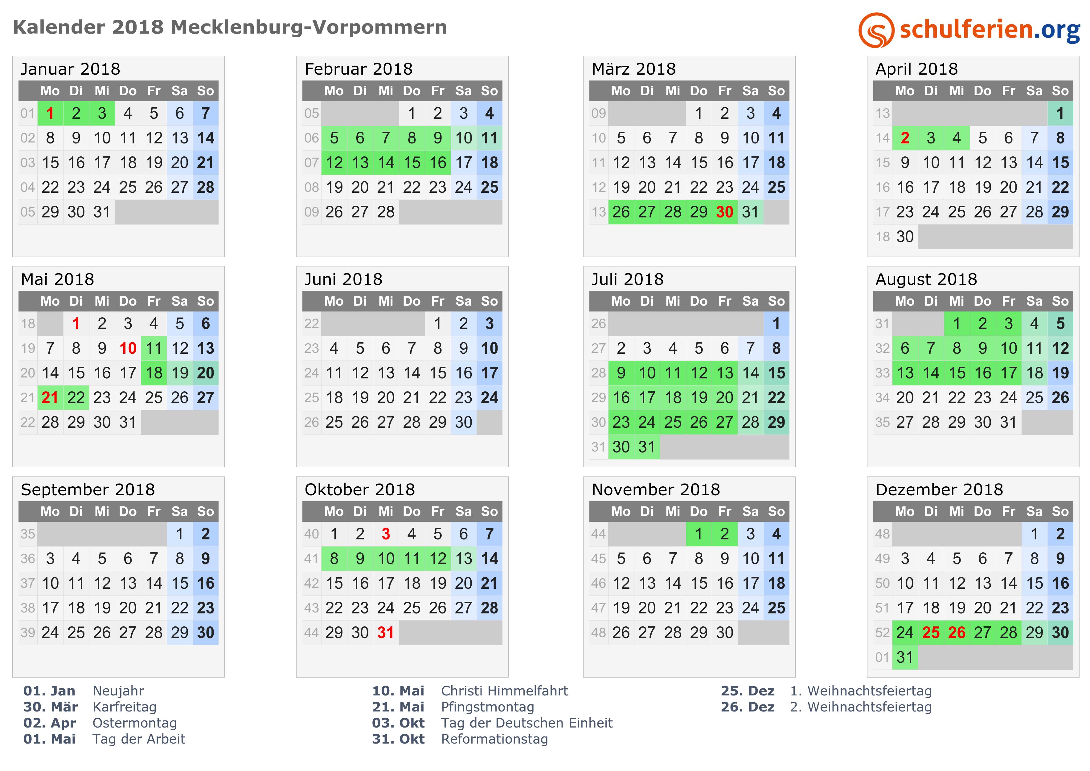 Kalender 2018 Ferien Mecklenburg Vorpommern Feiertage