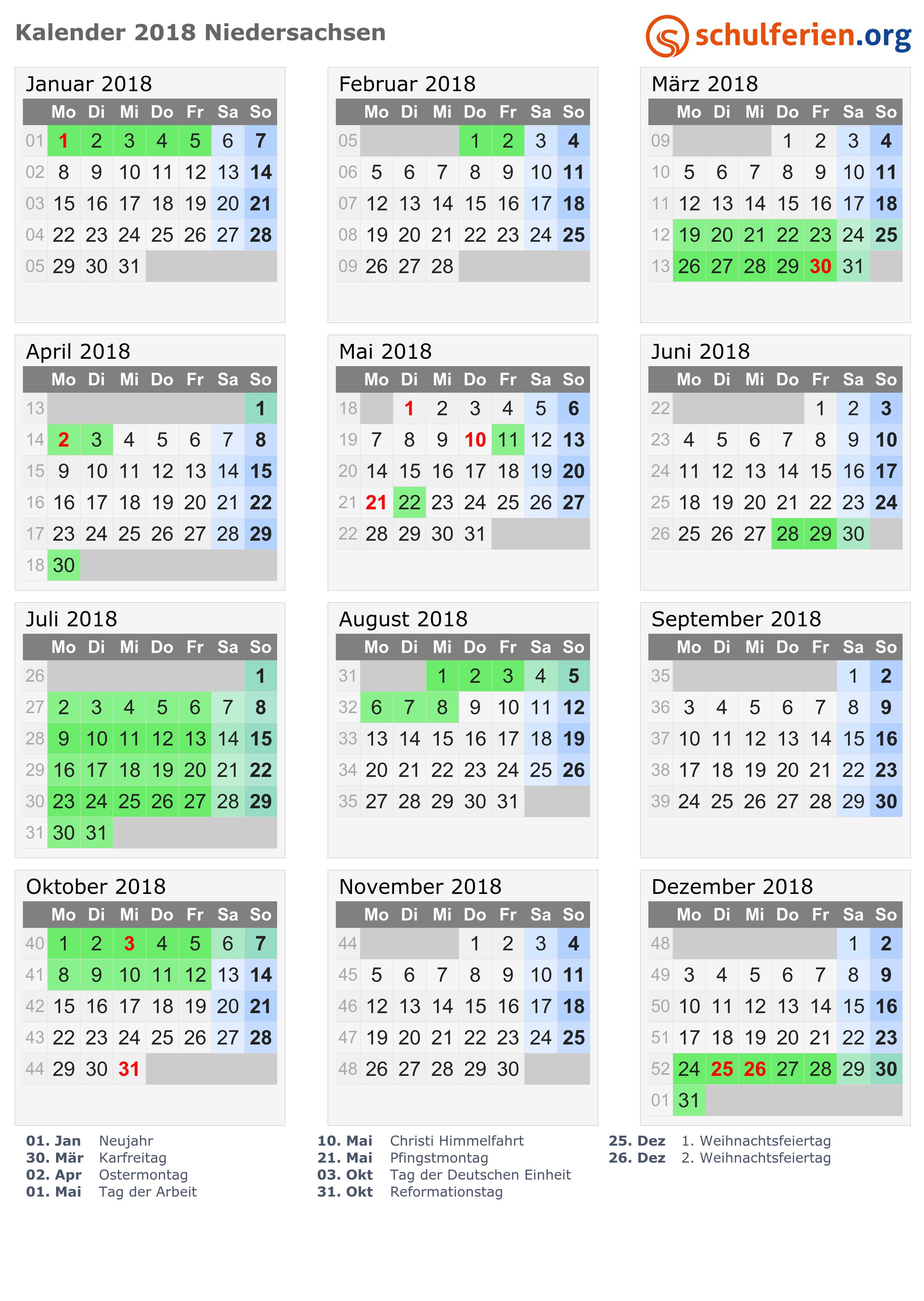 Kalender 2018 mit Ferien und Feiertagen Niedersachsen