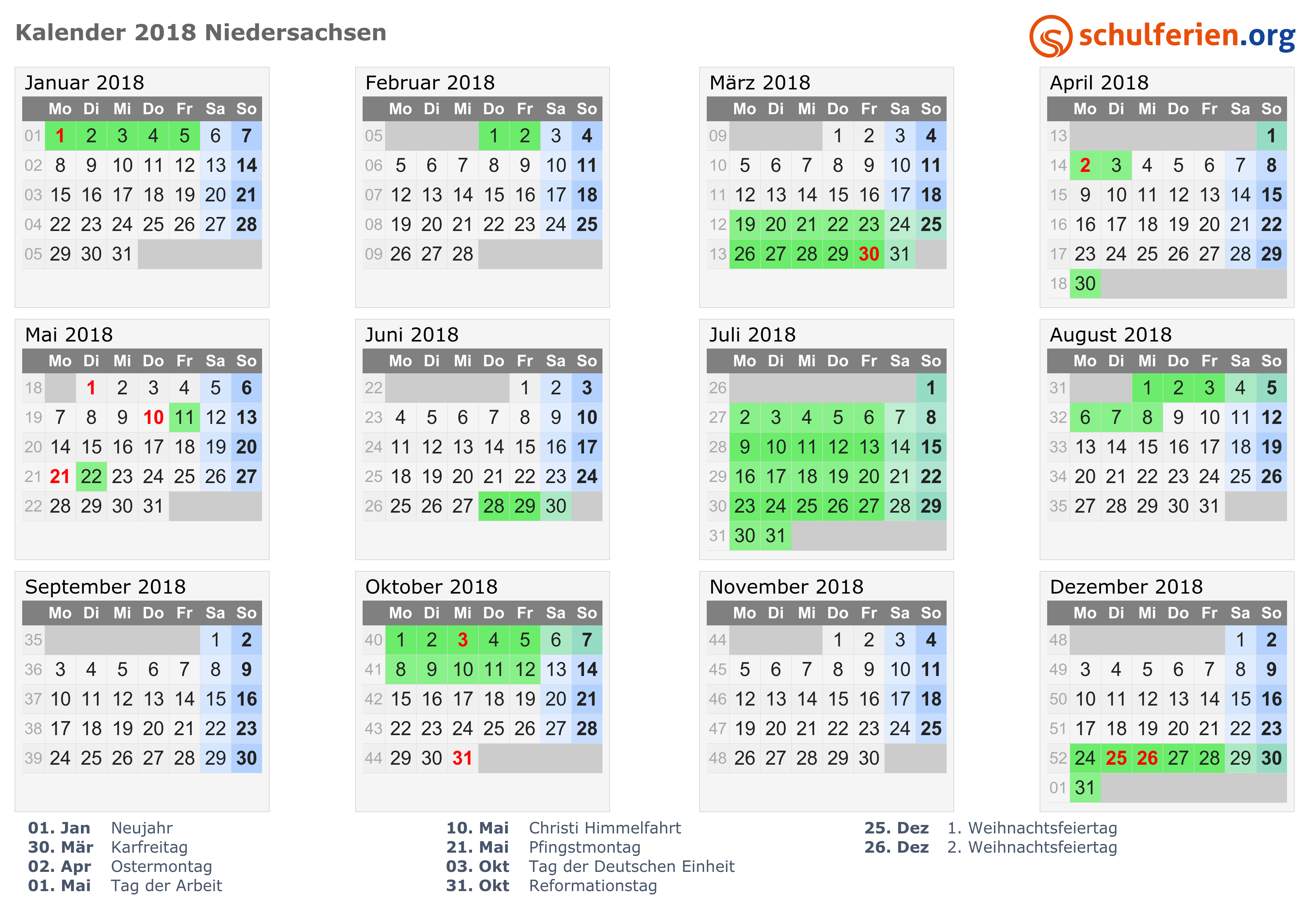 Kalender 2018 2019 2020 Niedersachsen
