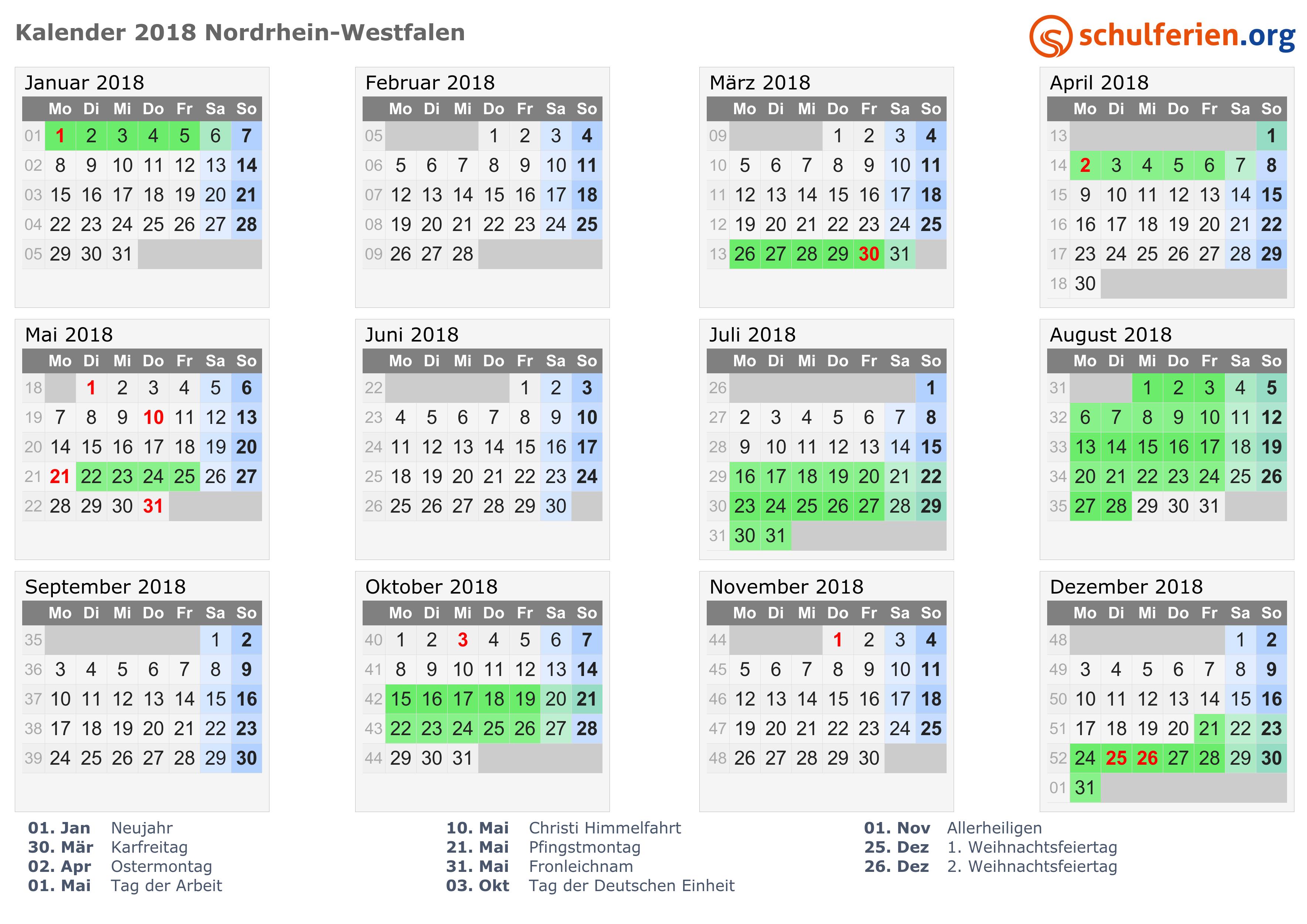 kalender 2018 ferien nordrhein westfalen feiertage. Black Bedroom Furniture Sets. Home Design Ideas