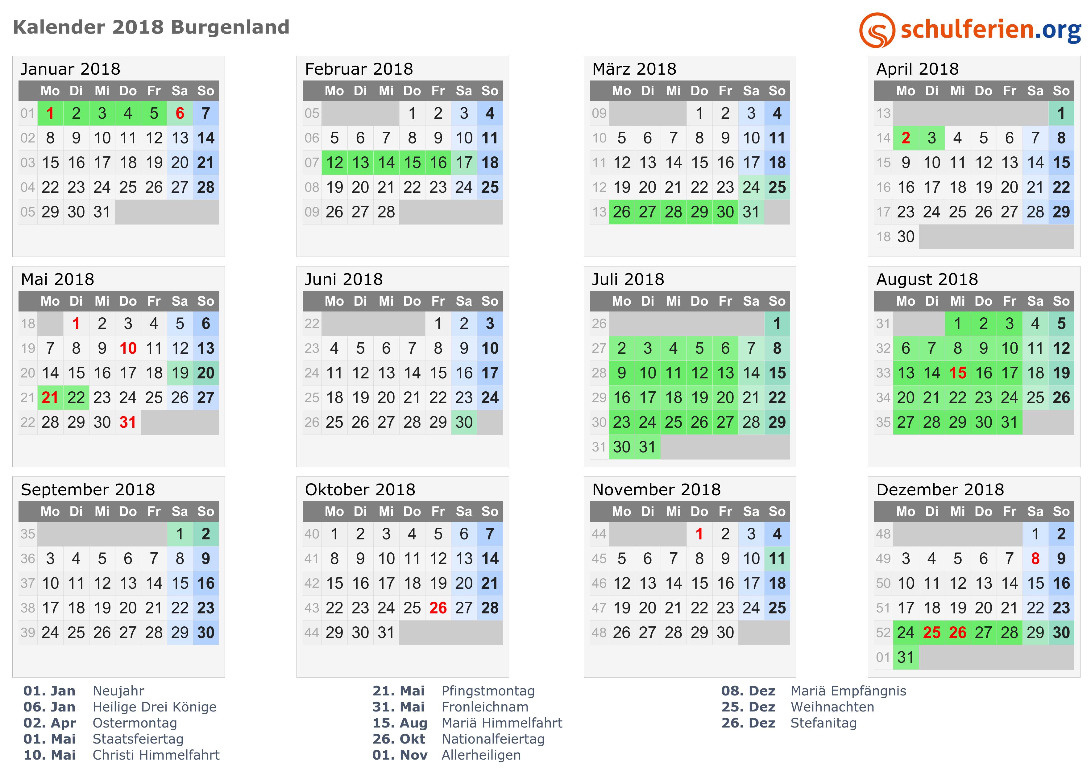 Kalender Österreich 2018, Feiertage von schulferien.org
