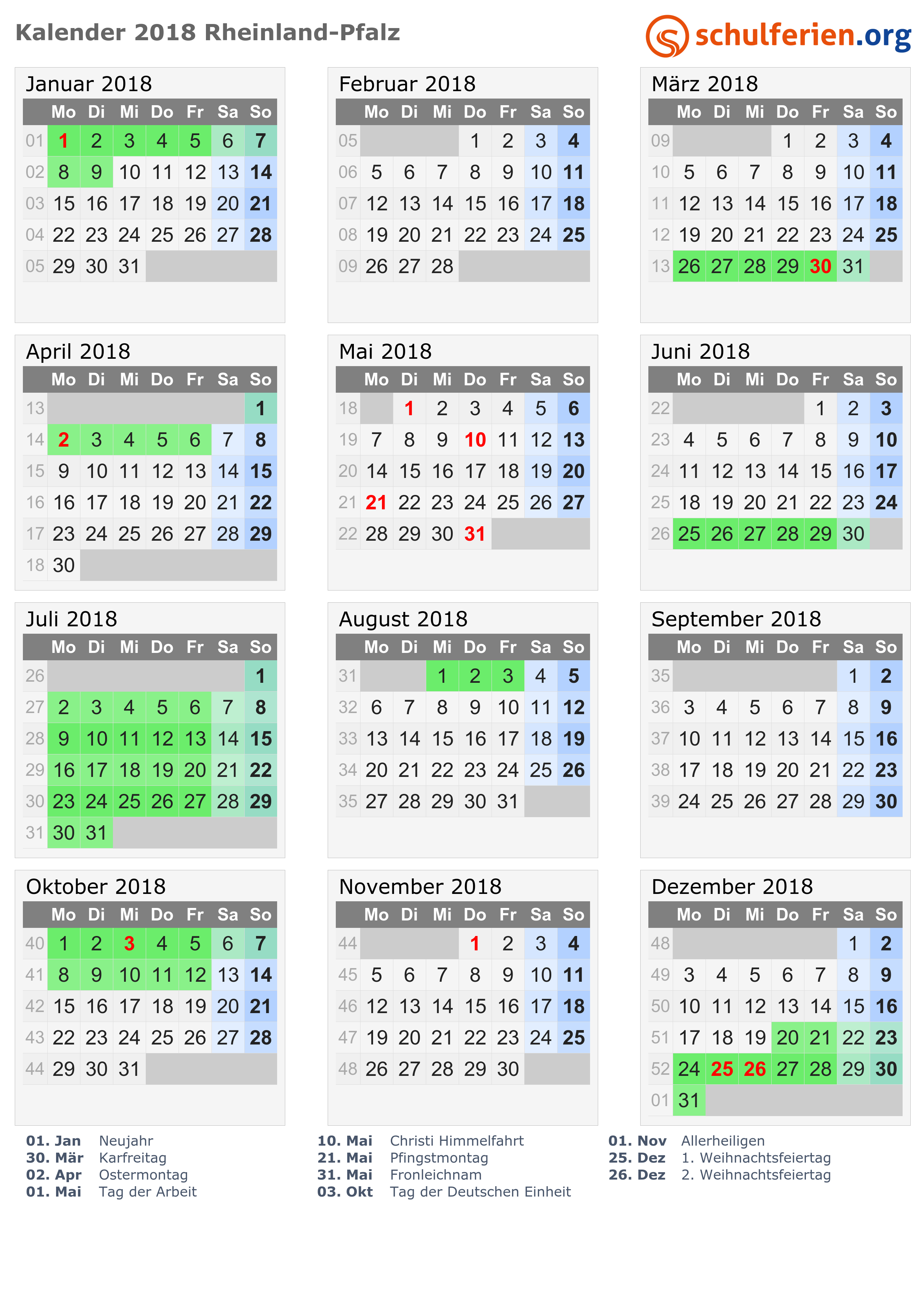 Kalender 2018 + Ferien Rheinland-Pfalz, Feiertage